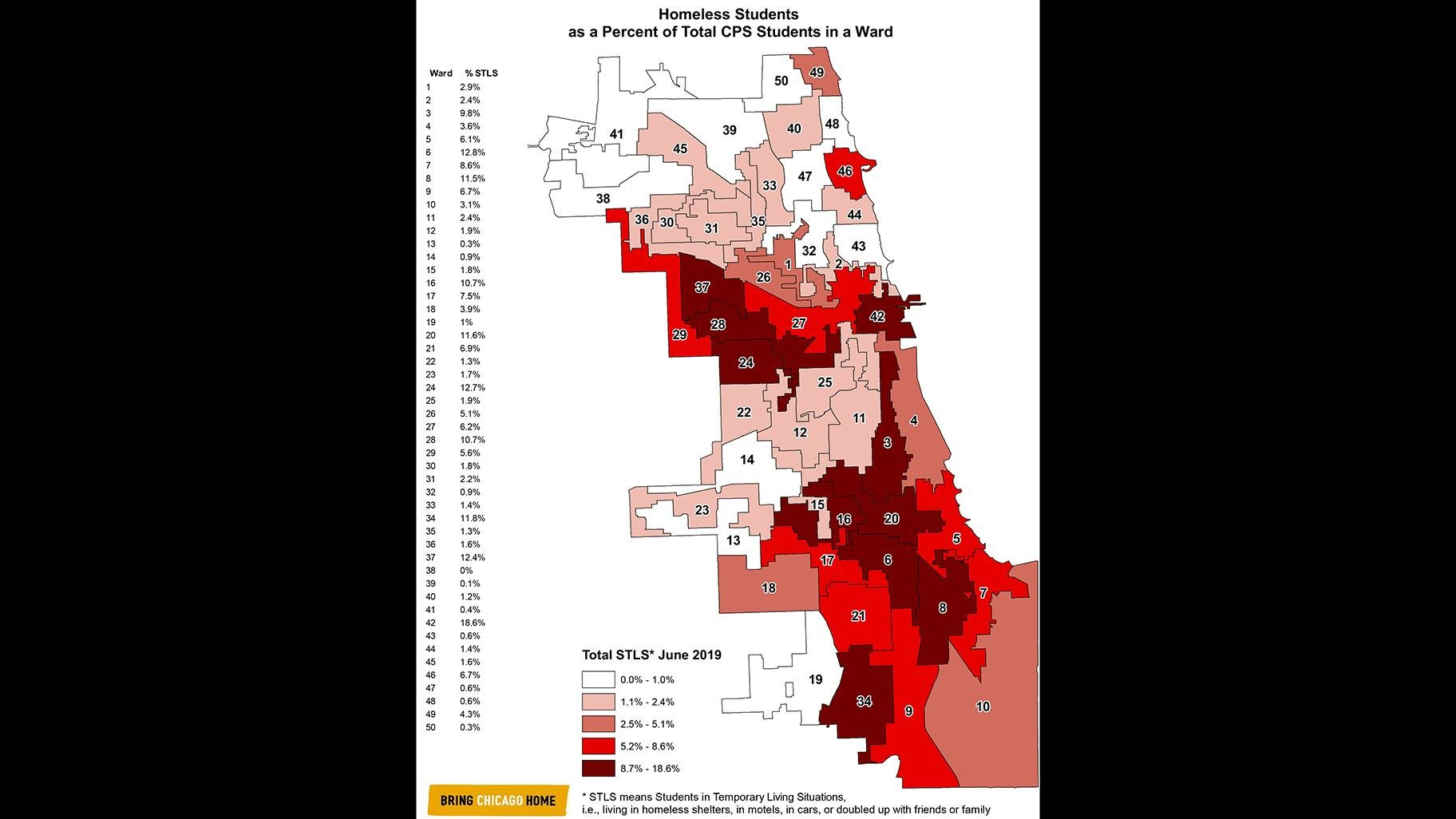 Percentage of homeless Chicago Public Schools students in each Chicago ward. Click to enlarge. (Courtesy Chicago Coalition for the Homeless)
