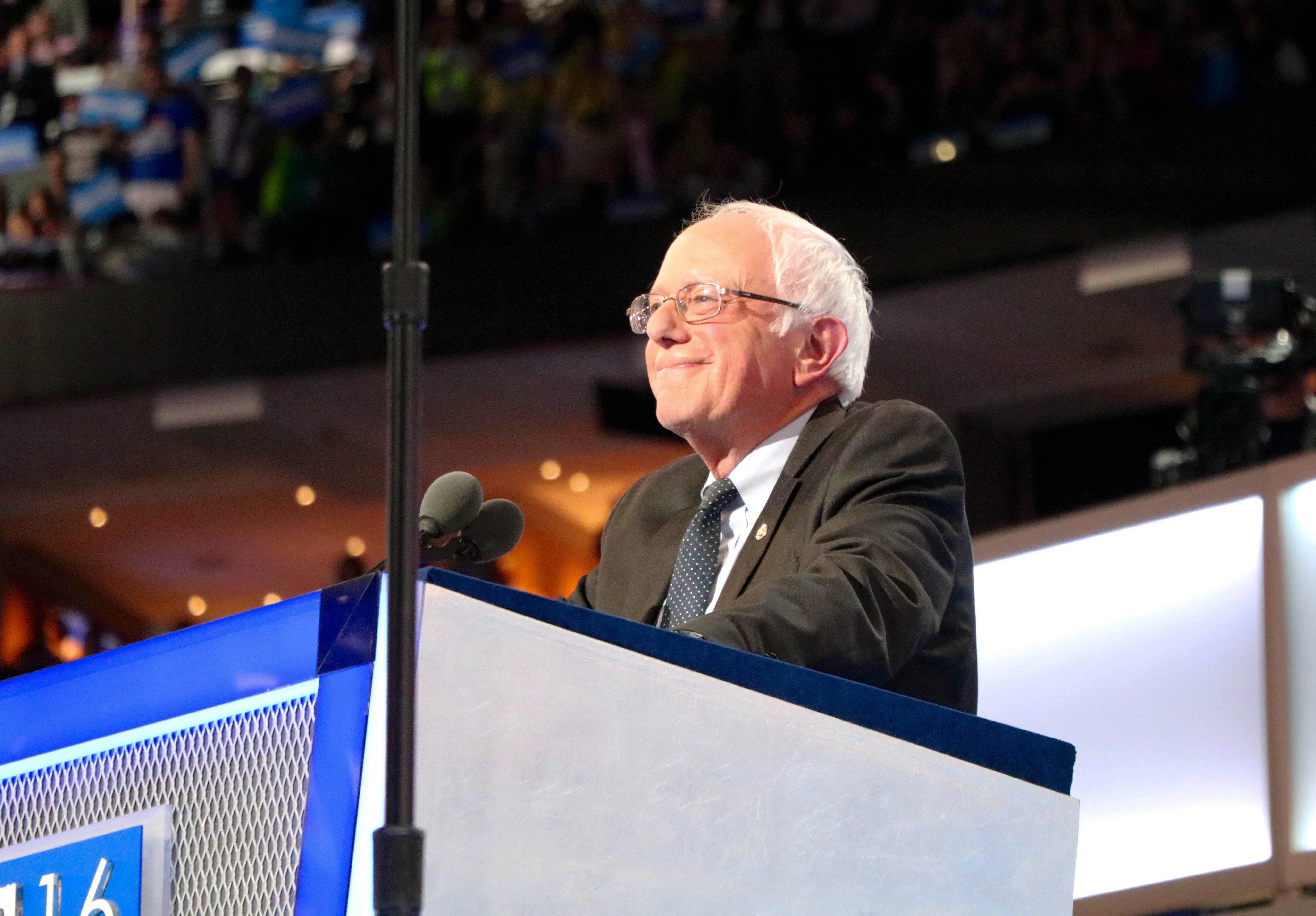 Former Democratic presidential candidate Bernie Sanders speaks Monday at the Democratic National Convention. (Evan Garcia / Chicago Tonight)