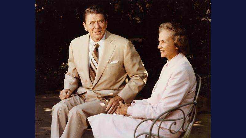President Ronald Reagan and Sandra Day O'Connor.