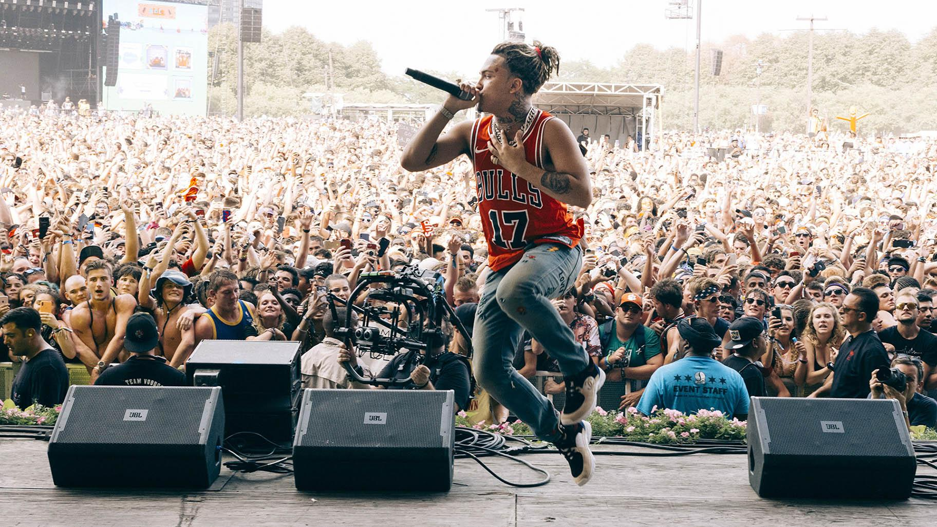 Lil Pump on stage at Lollapalooza on August 4, 2018. Lollapalooza will be back at full capacity from July 29 to August 29.  1, 2021. (Scott Witt / Lollapalooza 2018)