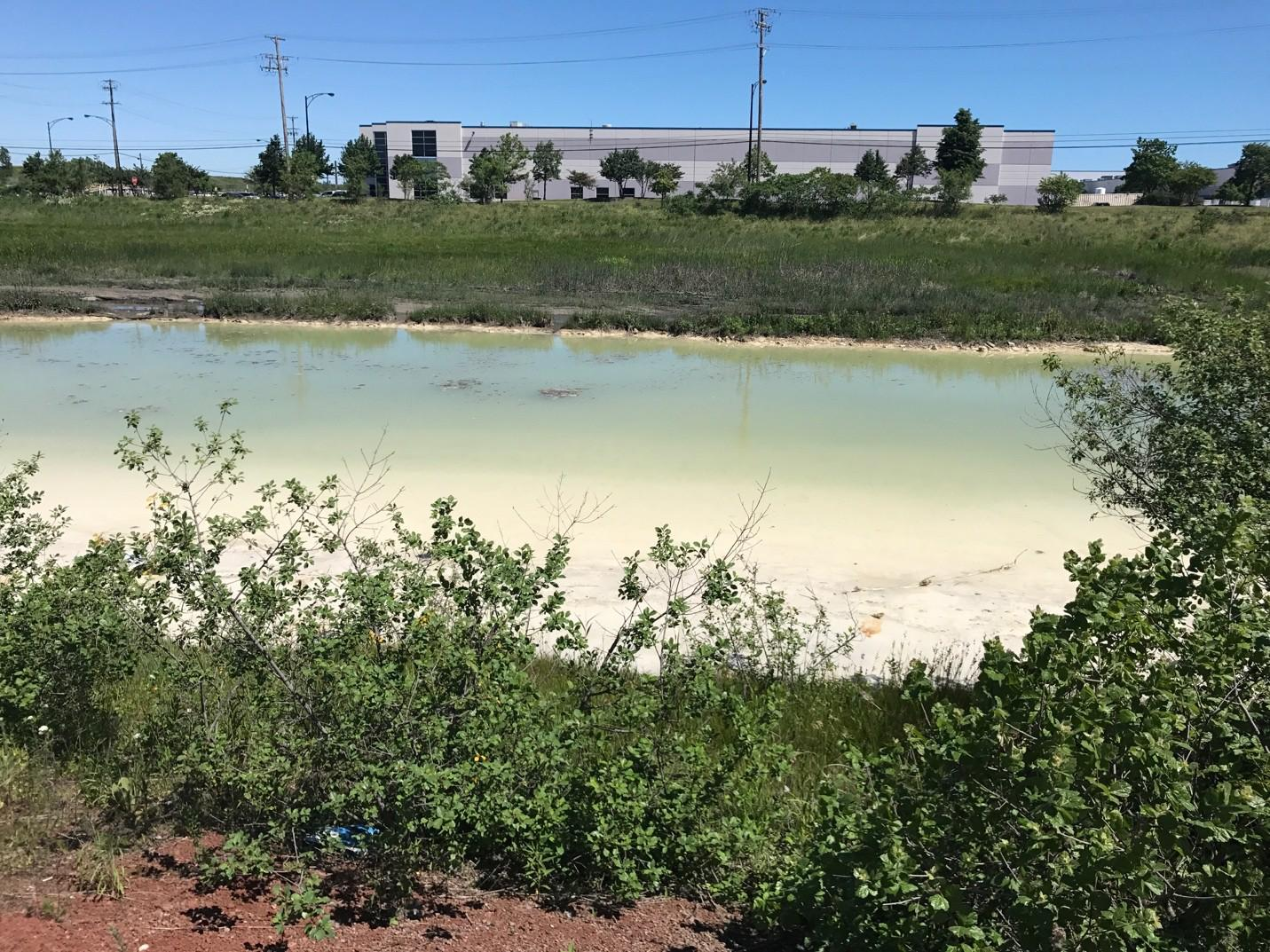 Environmental toxins from the Schroud property have polluted Indian Creek, which flows through the northern portion of the site. (Courtesy Chicago Legal Clinic)