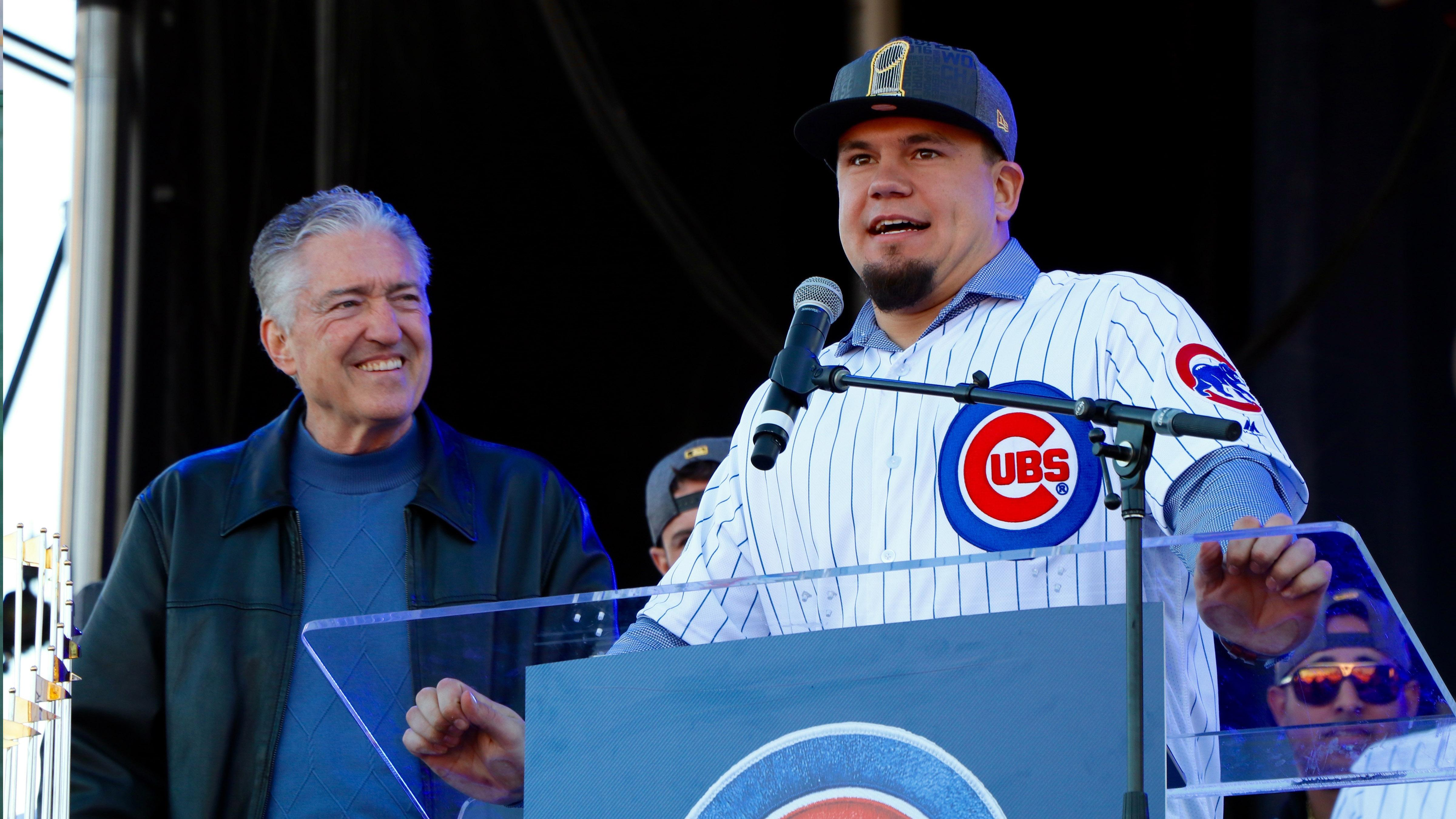 c0c5dce65a2 Cubs player Kyle Schwarber speaks at Friday s rally. To his right is Cubs  sportscaster Pat Hughes
