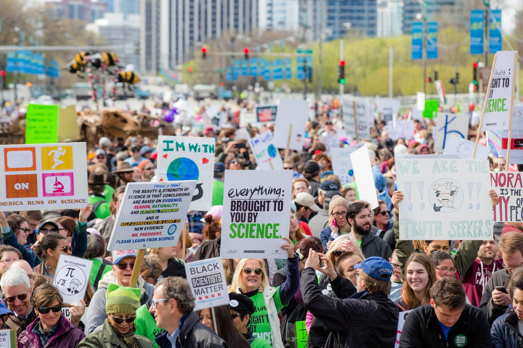 Chicago's March for Science drew an estimated 60,000 participants in 2017. This year's event will include a science fair and rally. (Zachary James Johnston / United Sciences of Chicago)