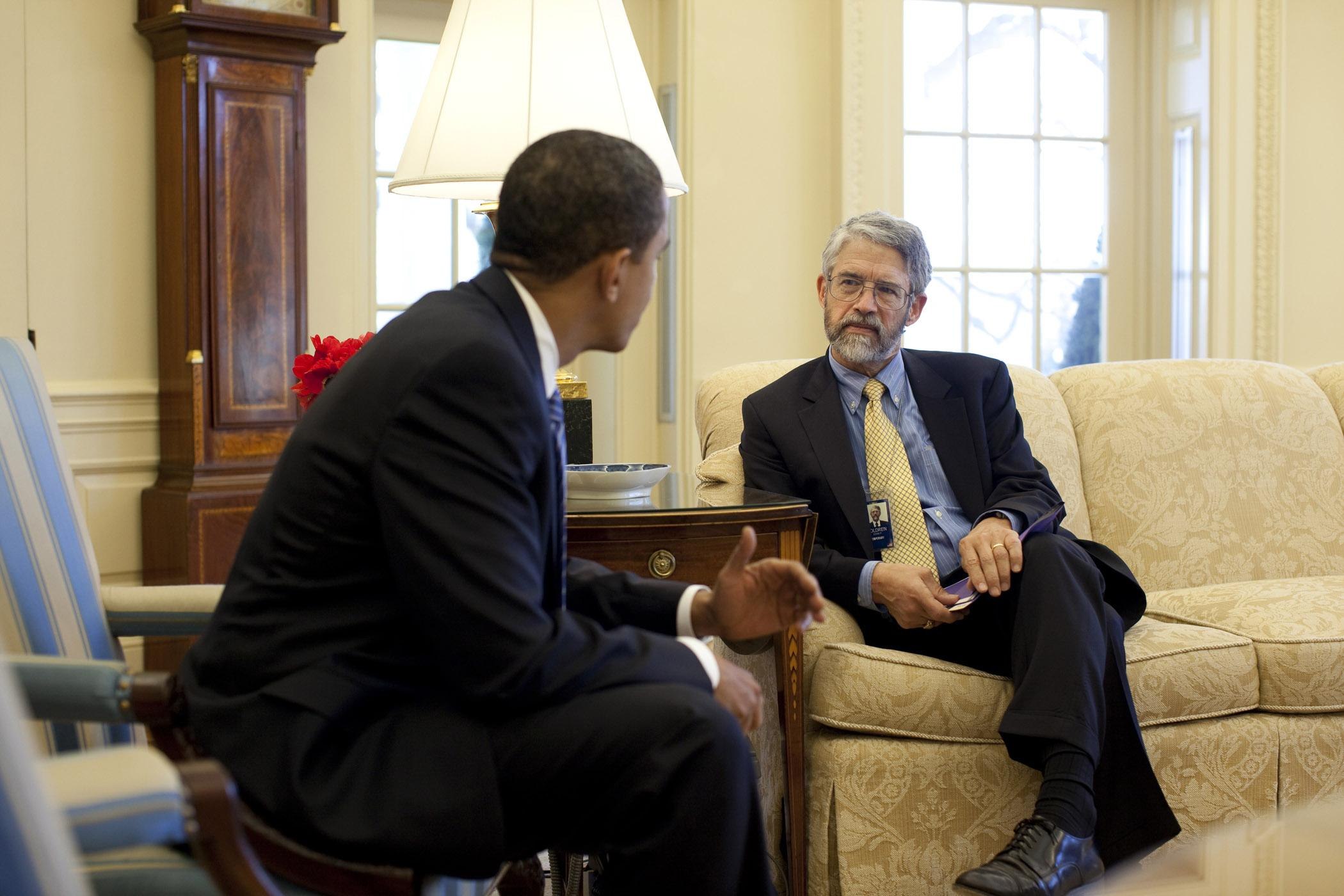 Former President Barack Obama with Science and Technology Adviser John P. Holdren (U.S. National Archives)