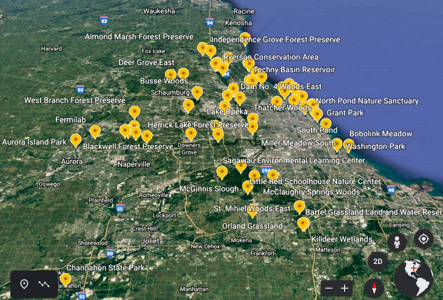 Interactive: Click the map to learn about each of the 60 natural areas Matt Sparapani and Alison Newberry visited.