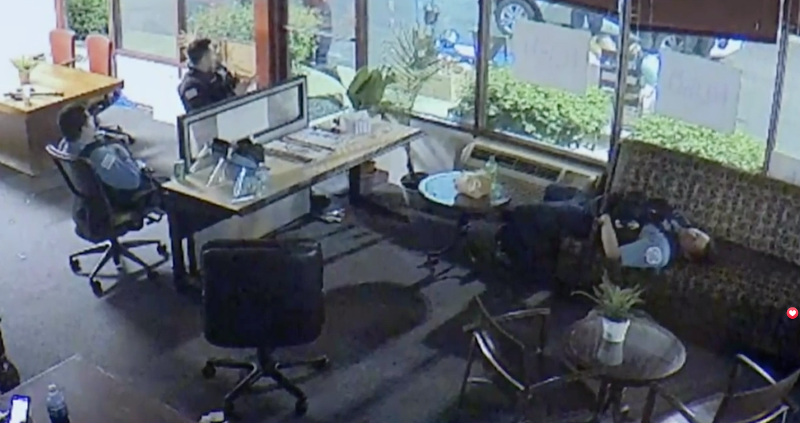 A screenshot from a video surveillance camera inside the office of U.S. Rep. Bobby Rush on June 1, 2020. (WTTW News via City of Chicago)