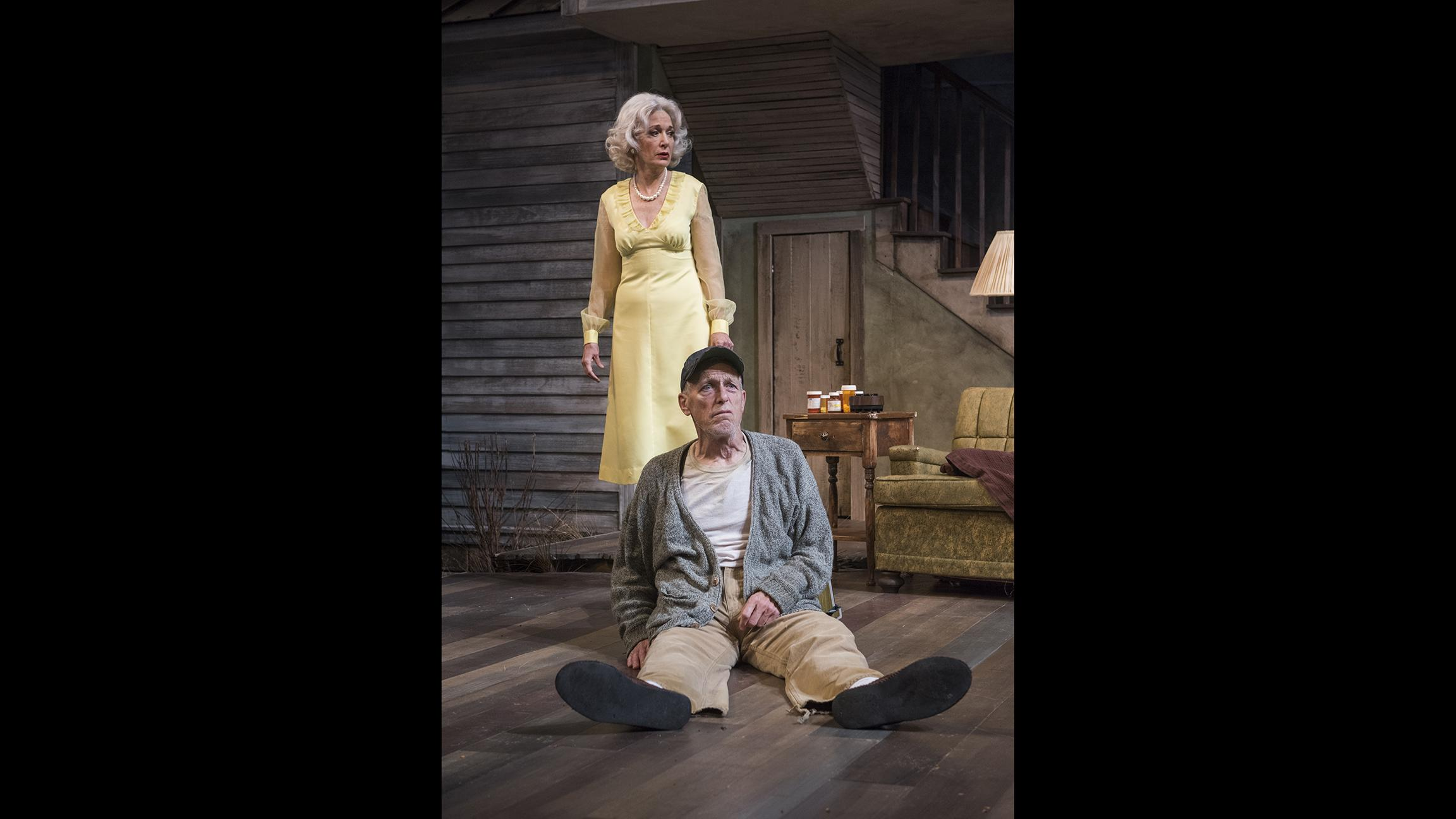 "Shannon Cochran and Larry Yando in ""Buried Child"" at Writers Theatre. (Photo credit: Michael Brosilow)"