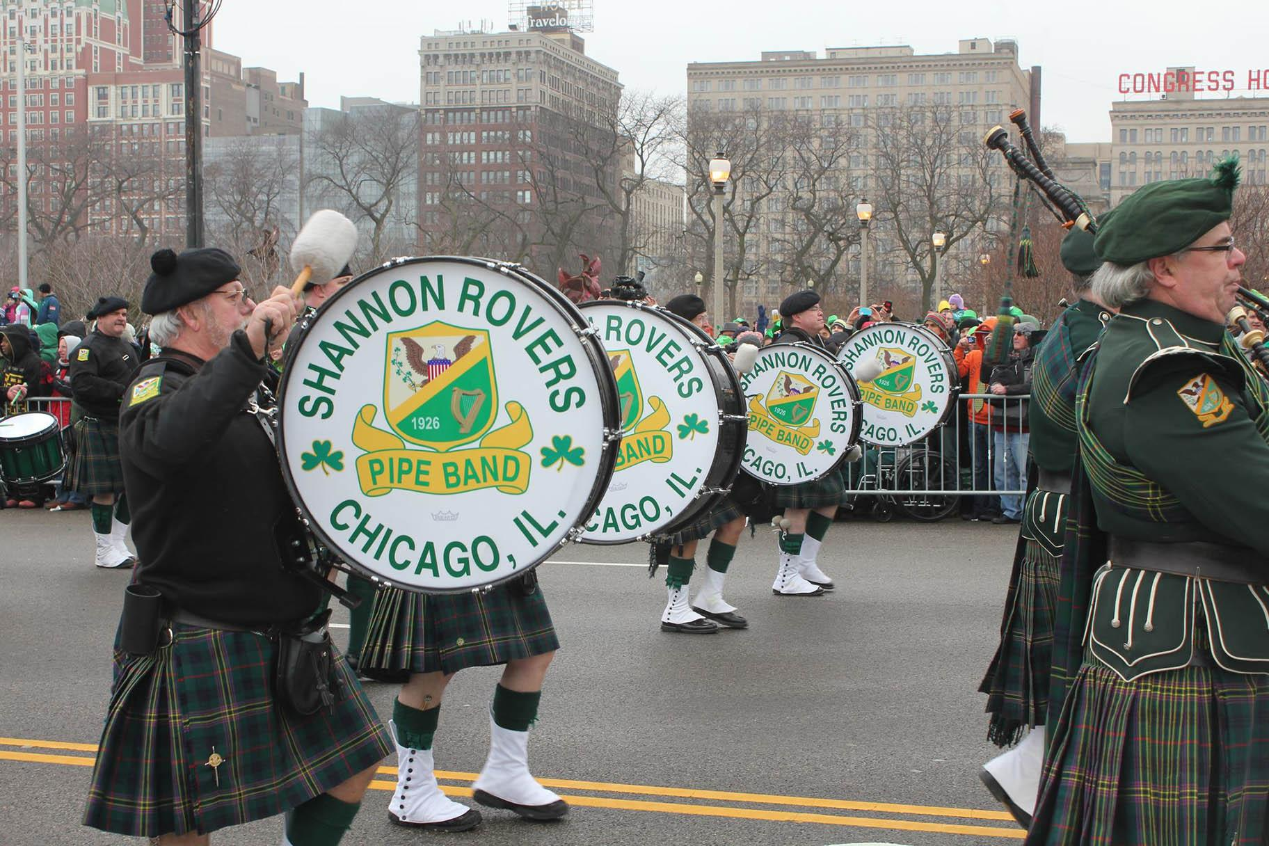 The Shannon Rovers Irish Pipe Band performs in Chicago. (Facebook photo)