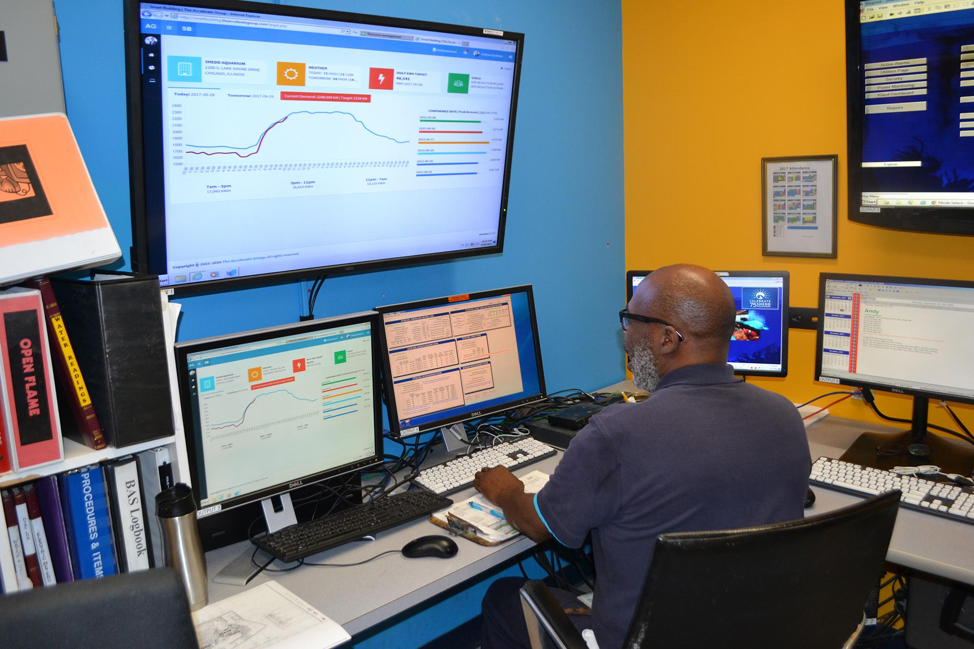Maurice Smith tracks Shedd Aquarium's energy usage from a control room in the building's basement. (Photos by Alex Ruppenthal / Chicago Tonight)