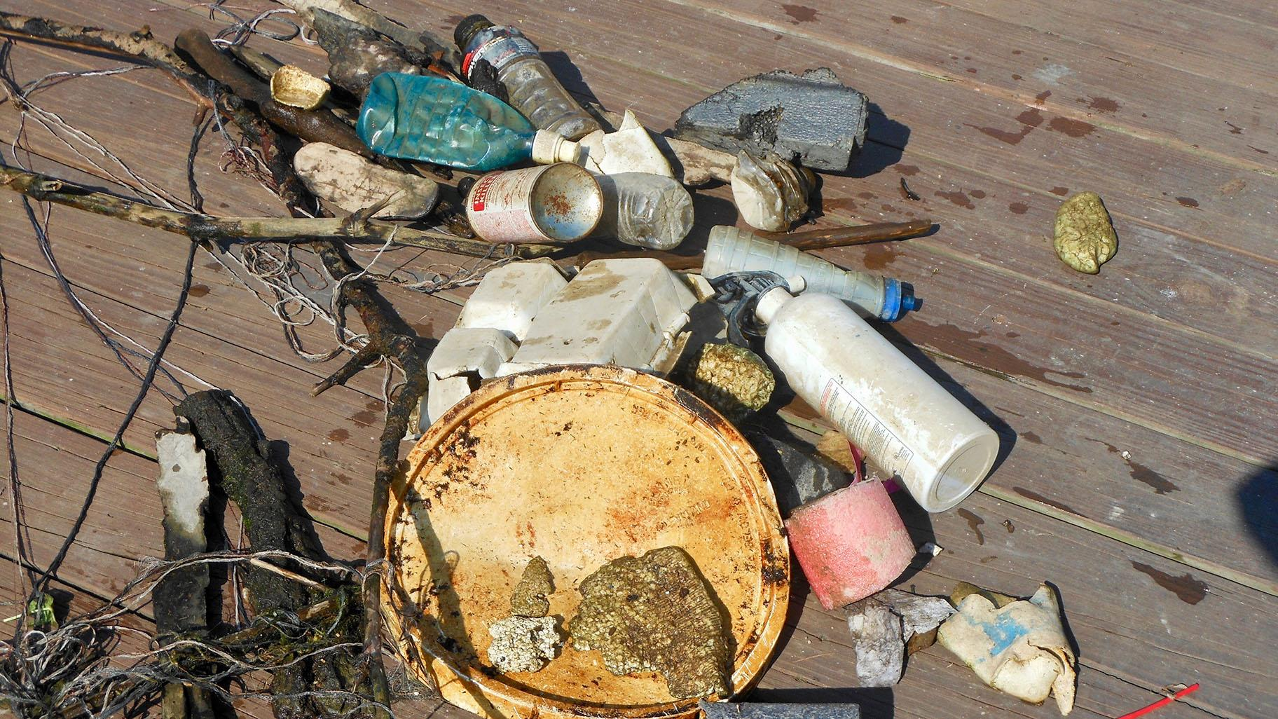 Plastic debris pulled from a Lake Erie marina in 2012. (Courtesy National Oceanic and Atmospheric Administration)