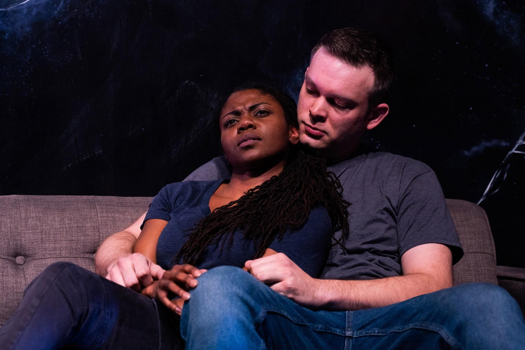 "Leslie Ann Sheppard and Drew Schad in Shattered Globe Theatre's Chicago premiere of ""Sheepdog."" (Photo by Lowell Thomas)"