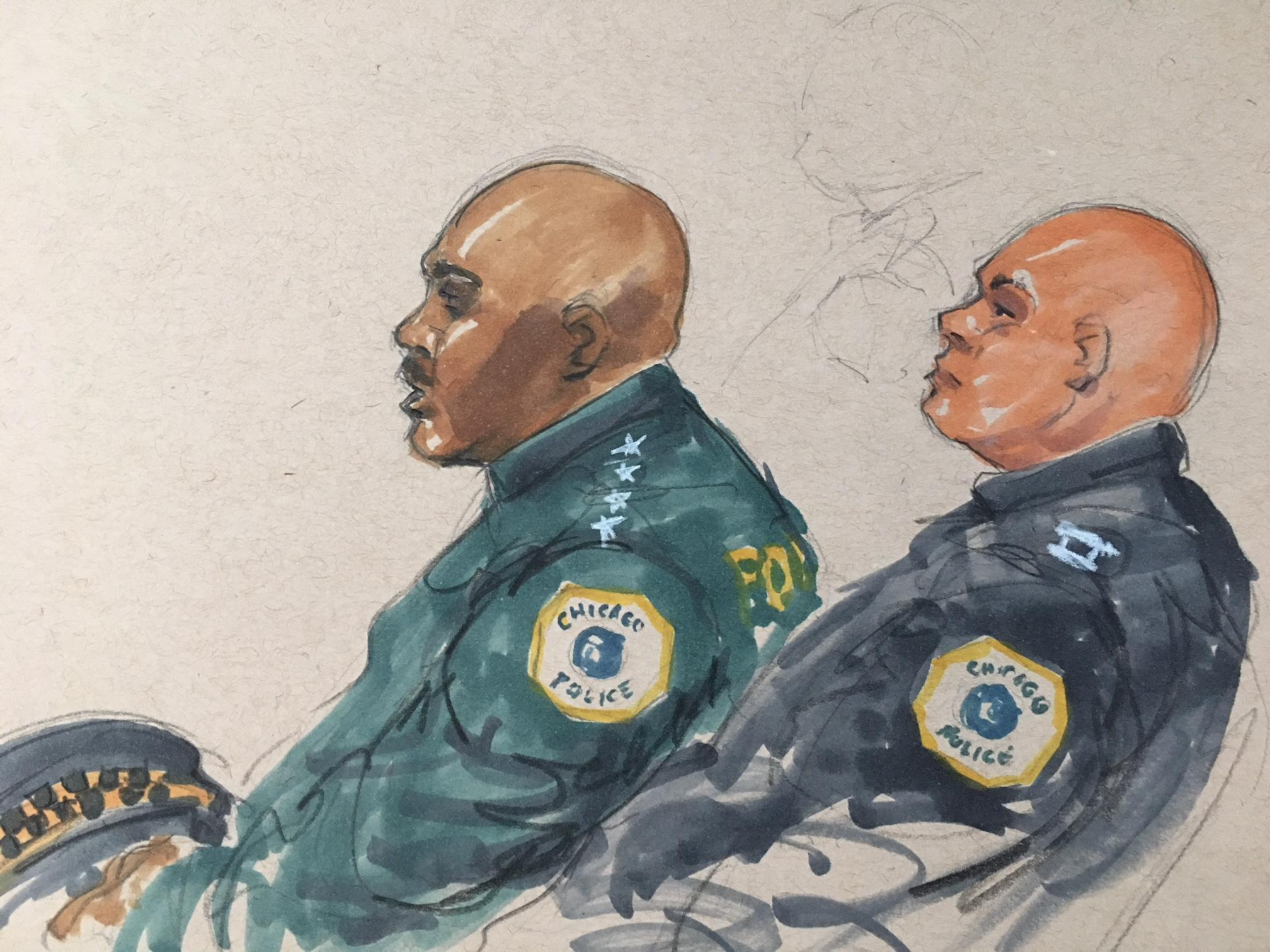 Chicago Police Superintendent Eddie Johnson, left, attends a hearing for Shomari Legghette at the Leighton Criminal Court Building on Monday, March 12. (Courtroom sketch by Thomas Gianni)