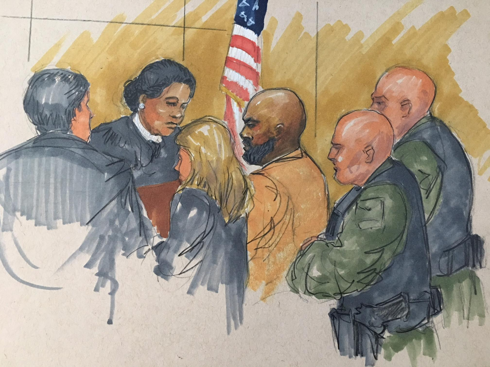 Shomari Legghette, center, appears before Cook County Judge Erica Reddick at the Leighton Criminal Court Building on Monday, March 12. (Courtroom sketch by Thomas Gianni)
