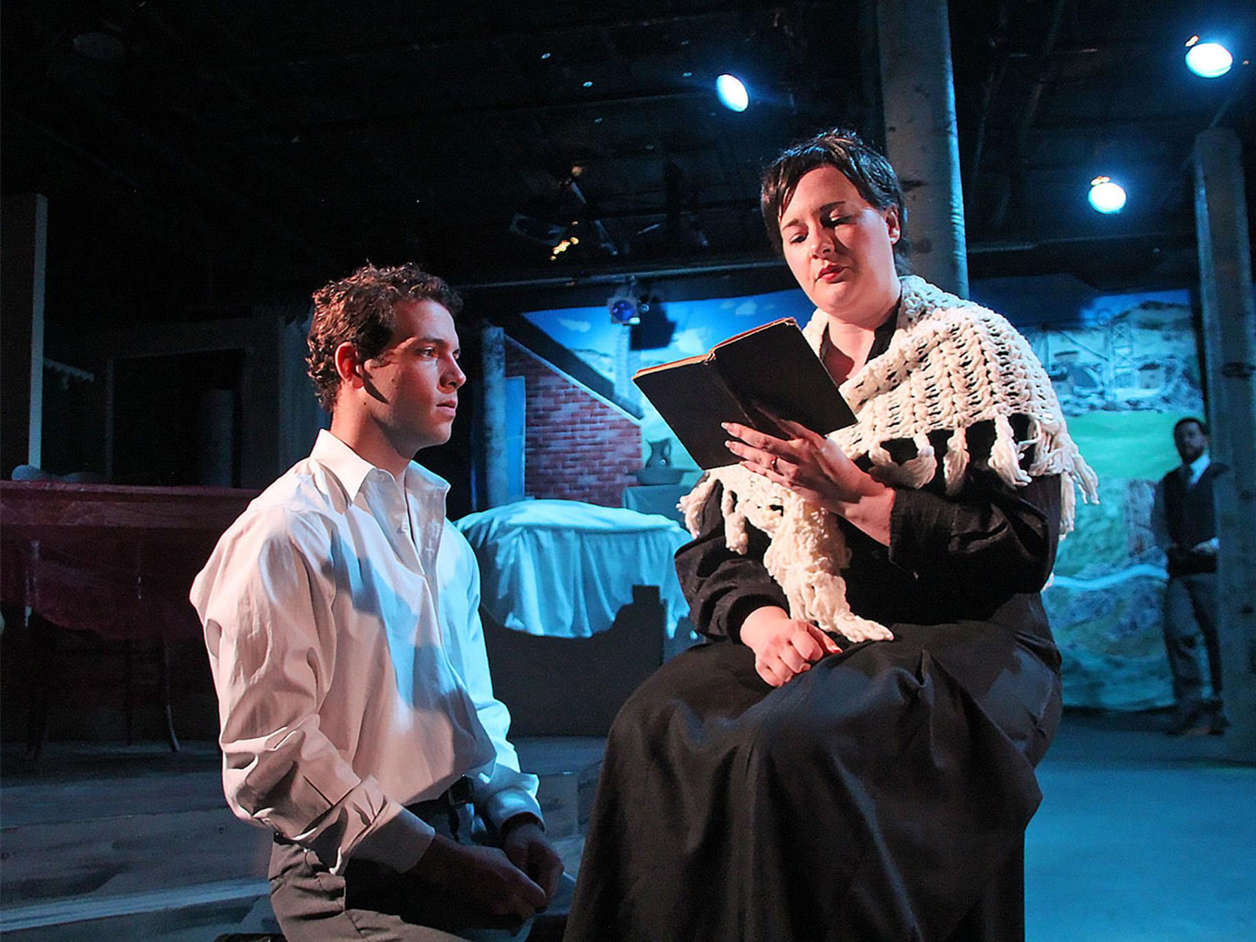 "Miles Borchard and Amy Gray with Brian Boller, back, in Greenhouse Theater Center and On The Spot Theatre Company's U.S. premiere of ""Sons and Lovers."" (Photo by Lisa Lennington)"