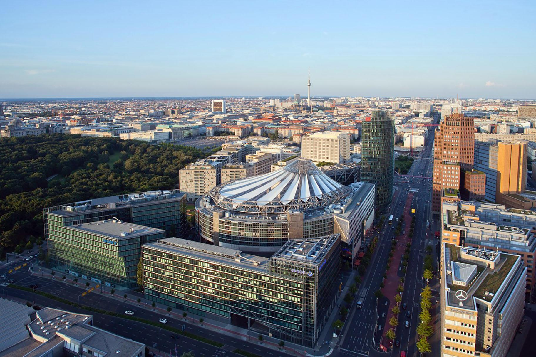 The SONY Center in Berlin, might remind viewers of the Thompson Center with its soaring atrium and spaceship-like exterior. (Courtesy Rainer Viertlboeck)