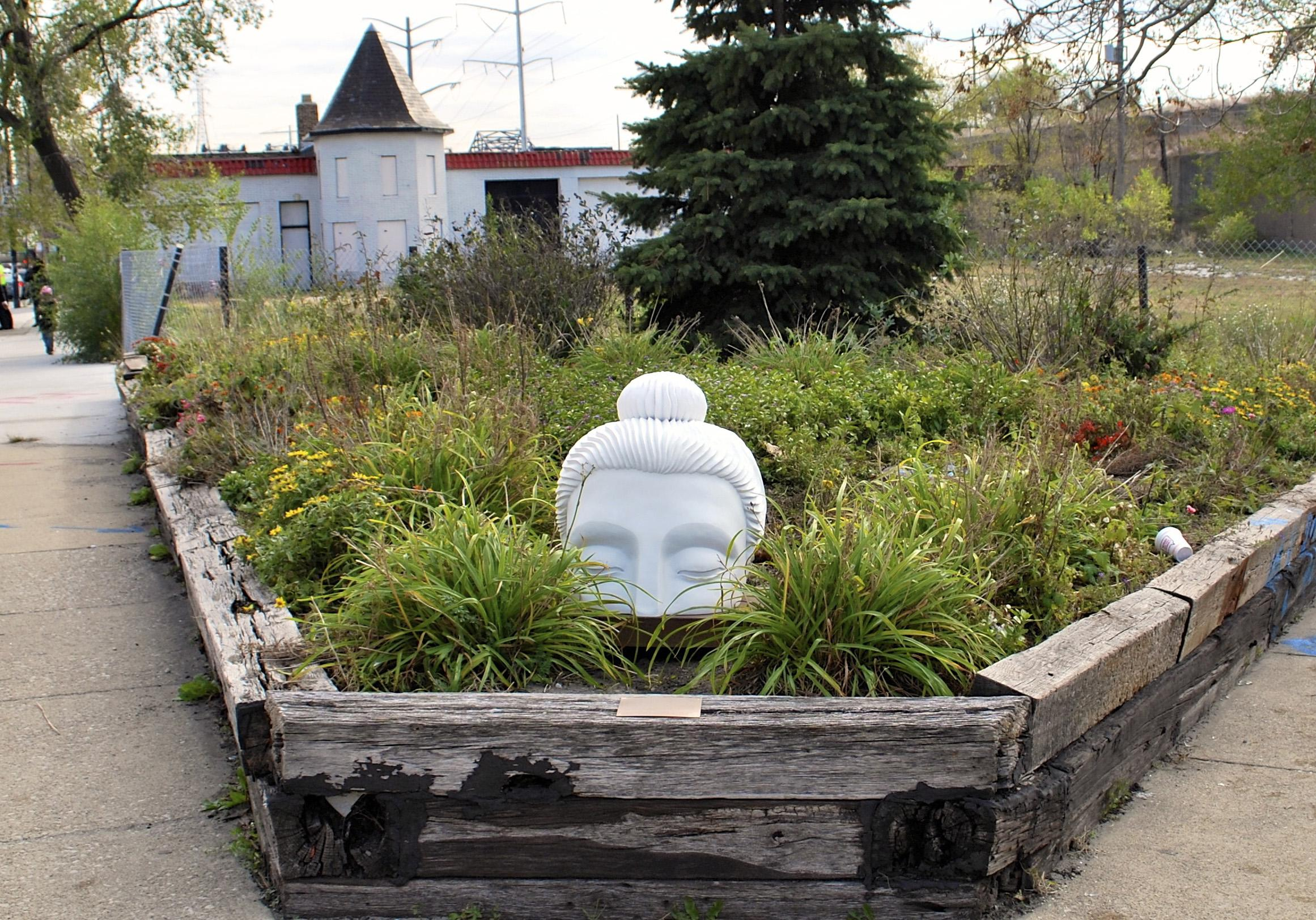 A Buddha sculpture in South Chicago
