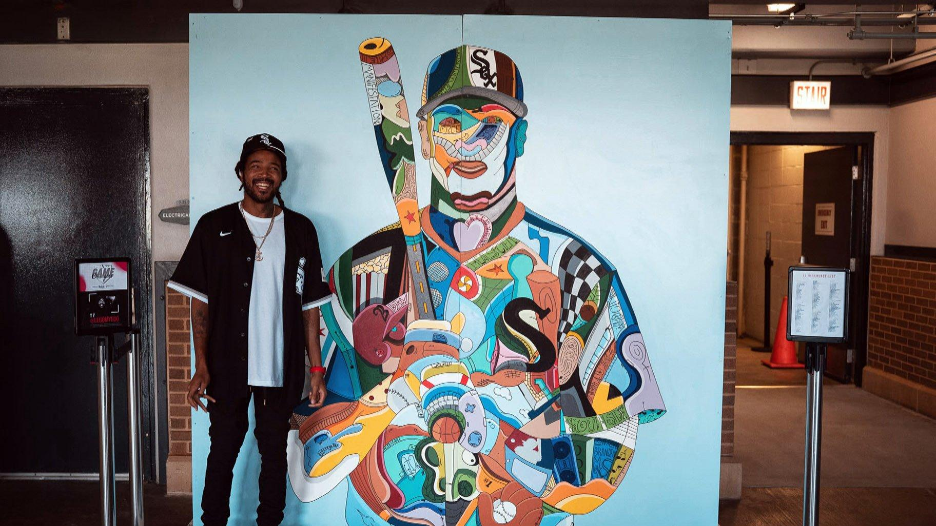 Just like Tim Anderson's exuberant style of play, Edo's bright, boisterous style of art draws people in. (WTTW News)