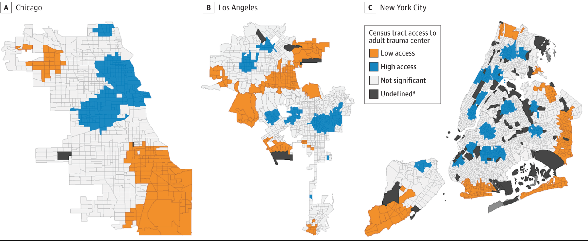 "Map detailing access to adult trauma centers by 2015 census tracts in Chicago, Los Angeles and New York City.  (From the investigation: ""Race/Ethnicity and Geographic Access to Urban Trauma Care."")"
