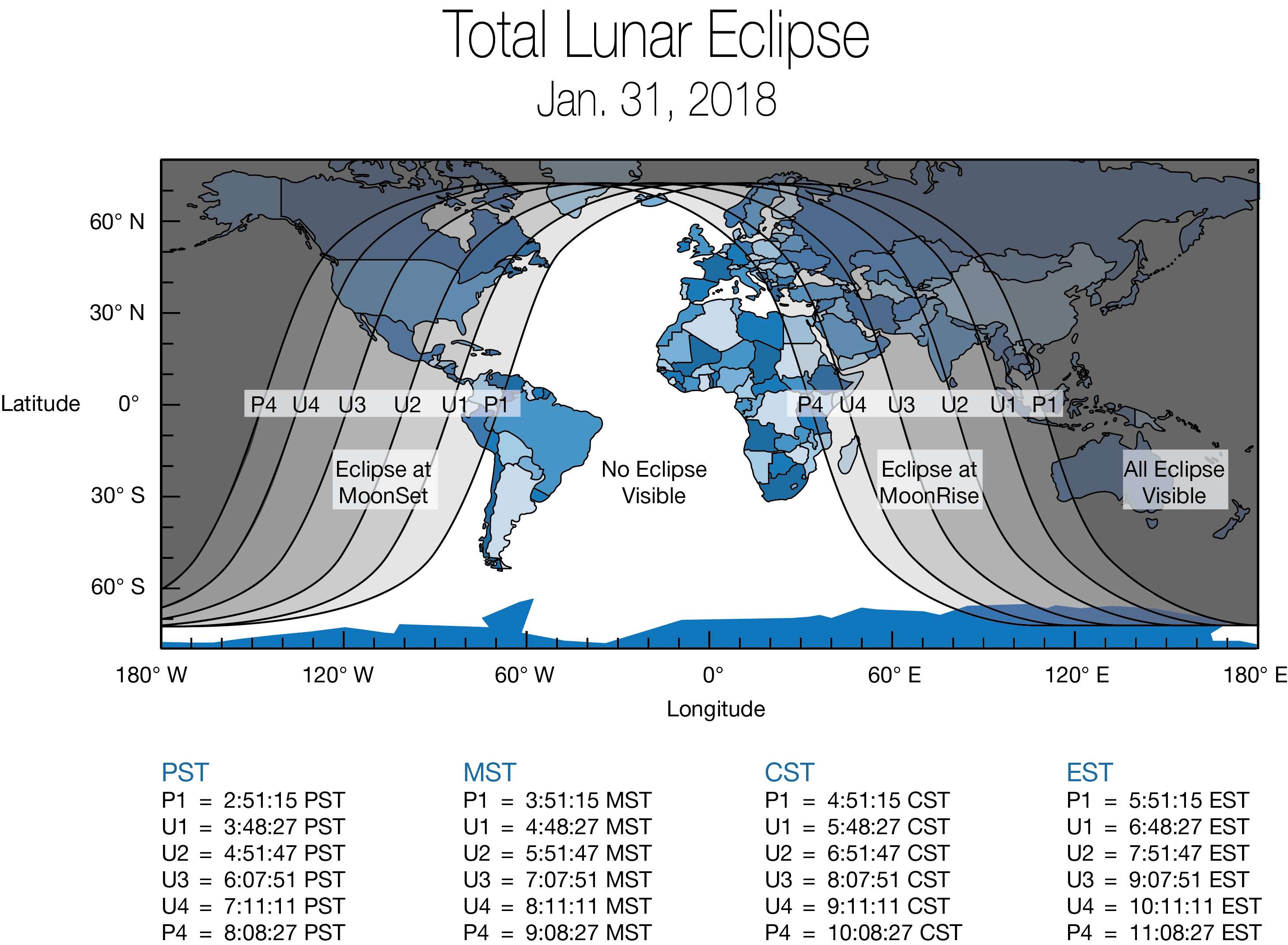 Map showing areas that will be able to view (weather permitting) the Jan. 31 super blue blood moon. (NASA)