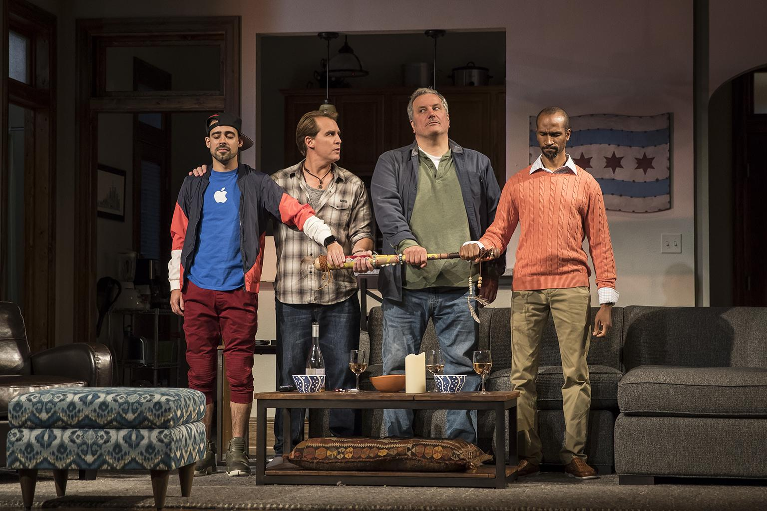 "Tommy Rivera-Vega (Kevin), Ryan Kitley (Brian), Keith Kupferer (Roger) and Anthony Irons (Delano) in the world premiere of ""Support Group for Men."" (Photo credit: Liz Lauren)"