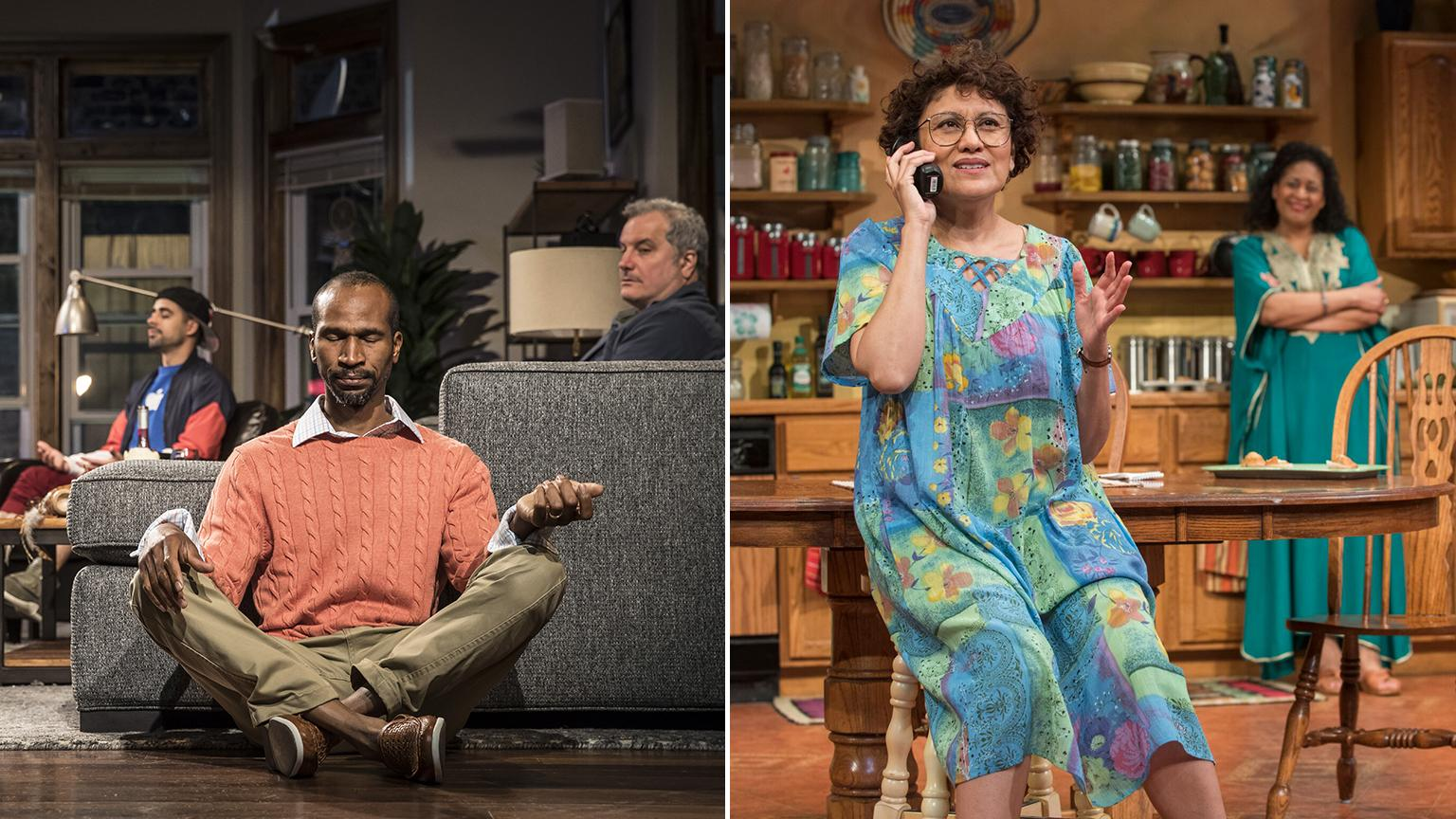 "Scenes from ""Support Group for Men,"" left, and ""The Roommate."" (Photo credit: Liz Lauren, left, and Michael Brosilow)"