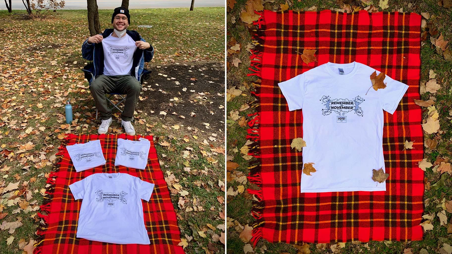 Left: Horace Nowell sells his shirts at the Logan Square Monument park on Oct. 4, 2020. (Ariel Parrella-Aureli / WTTW News) Right: A close-up of the T-shirt. (Courtesy of Horace Nowell)