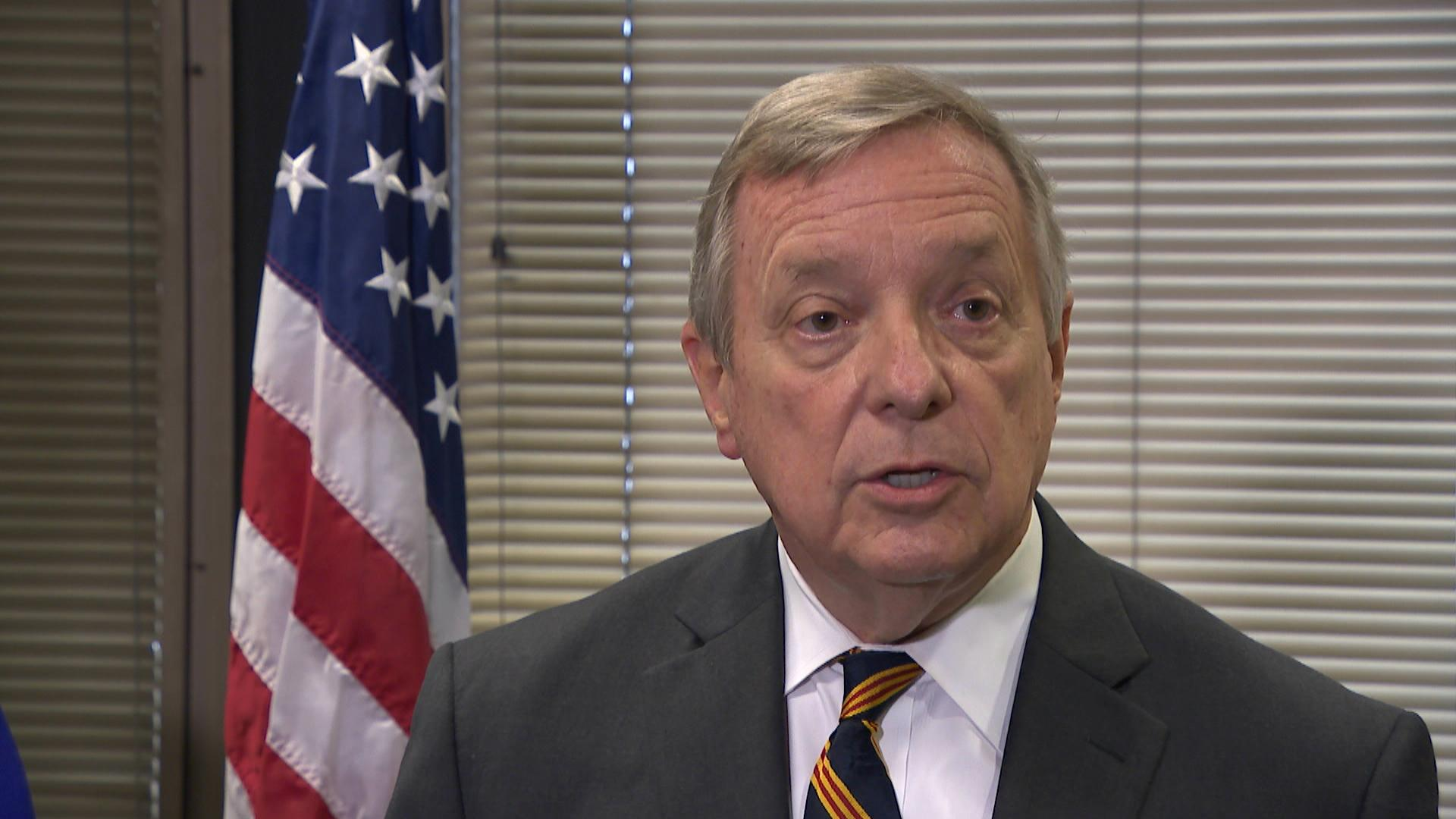 U.S. Sen. Dick Durbin speaks to the media on Monday, June 11. (Chicago Tonight)