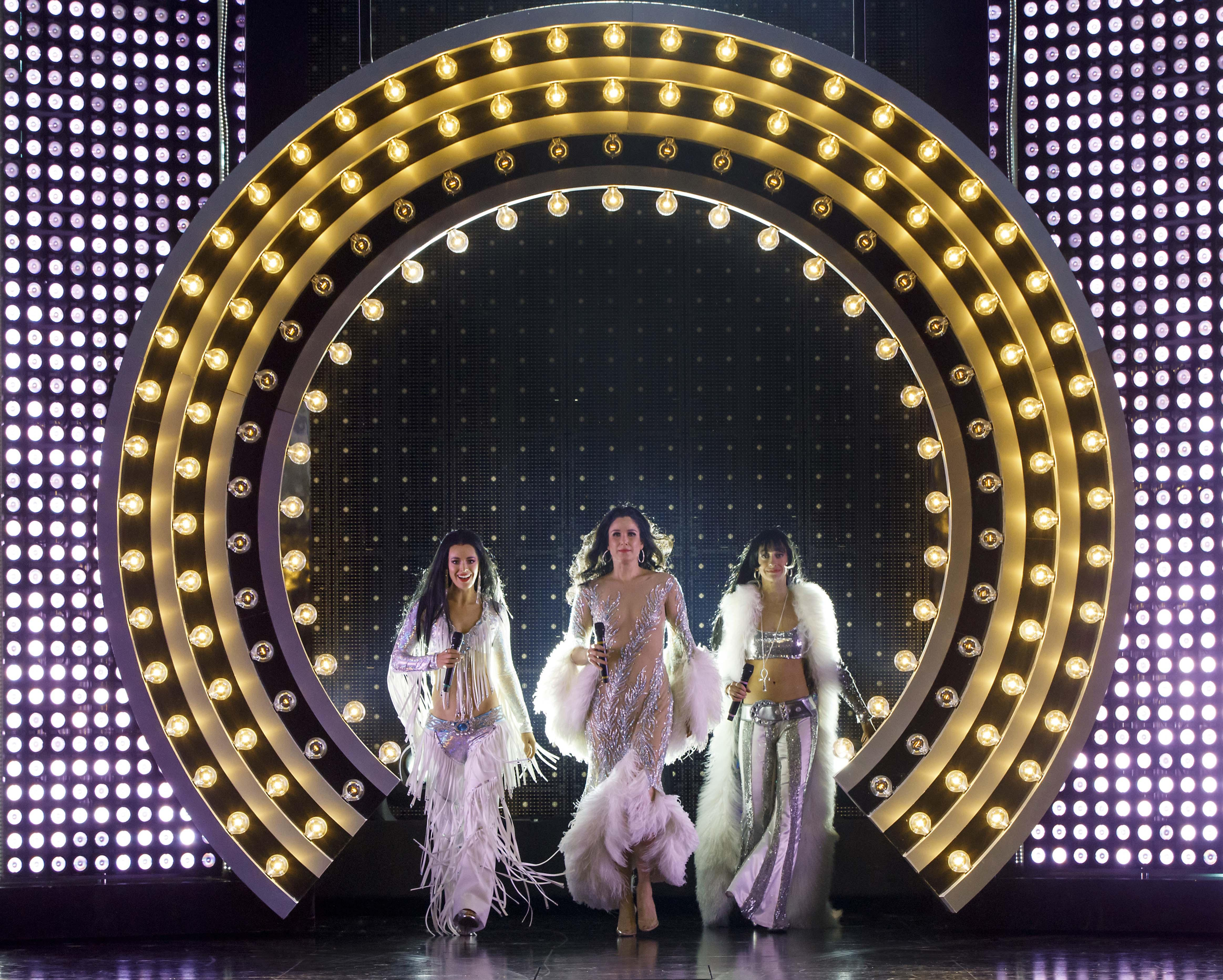 "Teal Wicks, Stephanie J. Block and Micaela Diamond in ""The Cher Show"" at Broadway in Chicago's Oriental Theatre. (Photo by Joan Marcus)"