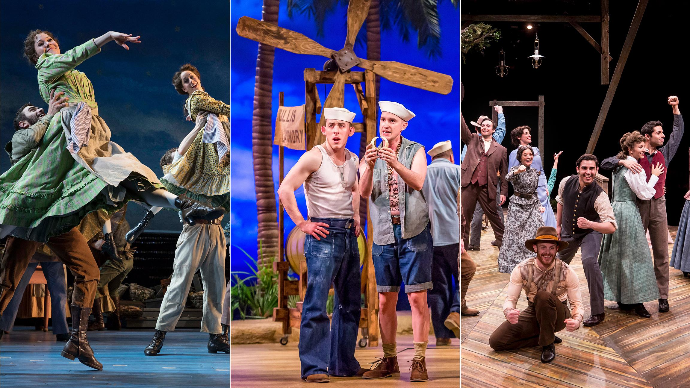 "Rodgers and Hammerstein musicals currently on stage in New York and Chicago: ""Carousel,"" left, ""South Pacific,"" center, and ""Oklahoma!"" (Photo credits, from left: Julieta Cervantes, Brett Beiner, Liz Lauren)"