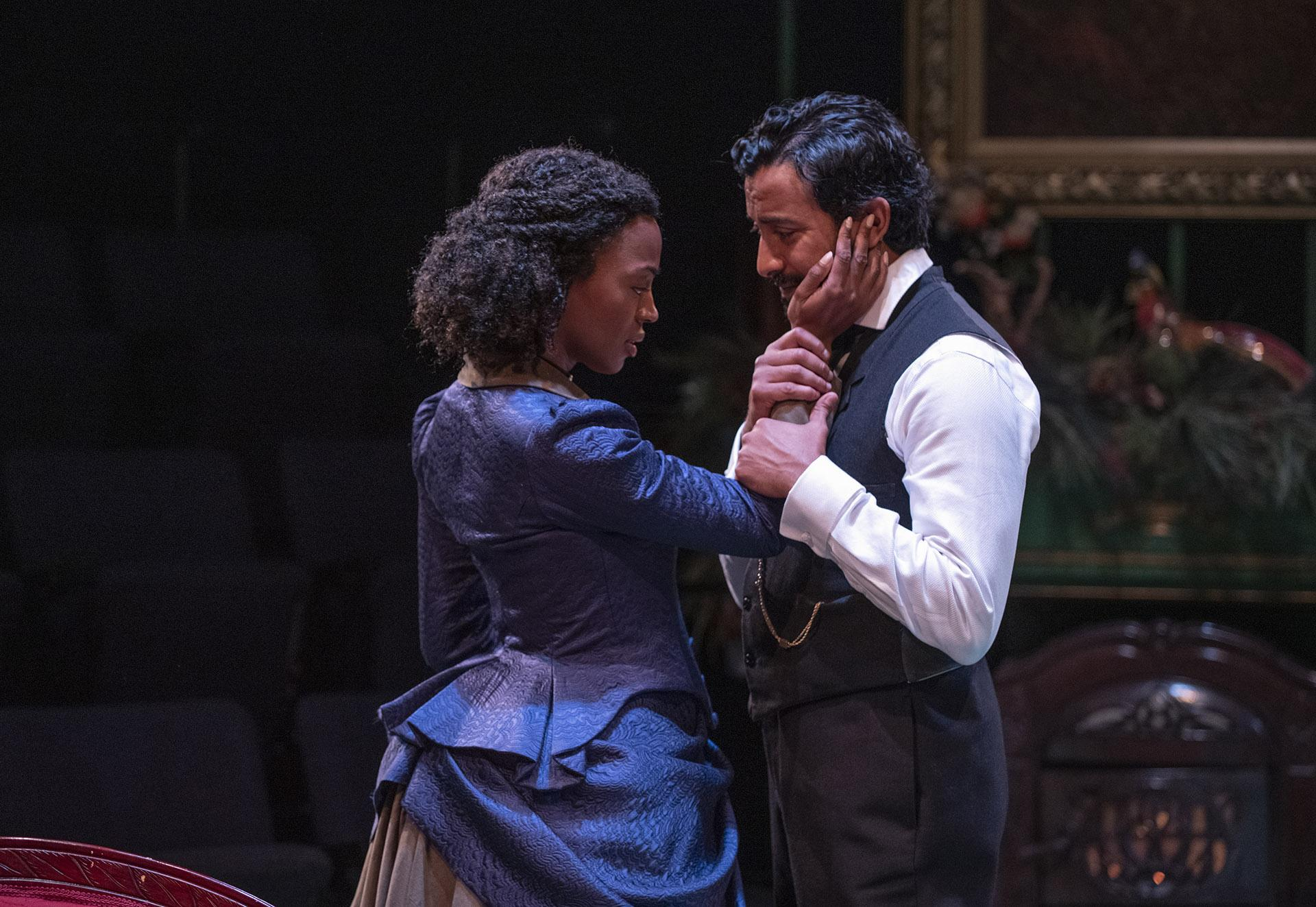 "Tiffany Renee Johnson (Christine) and Adam Poss (Krogstad) in ""A Doll's House."" (Photo by Michael Brosilow)"