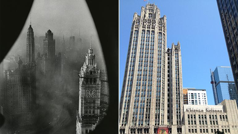 Left: A view from the Tribune Tower observation deck in 1952. Right: The Tribune Tower today.