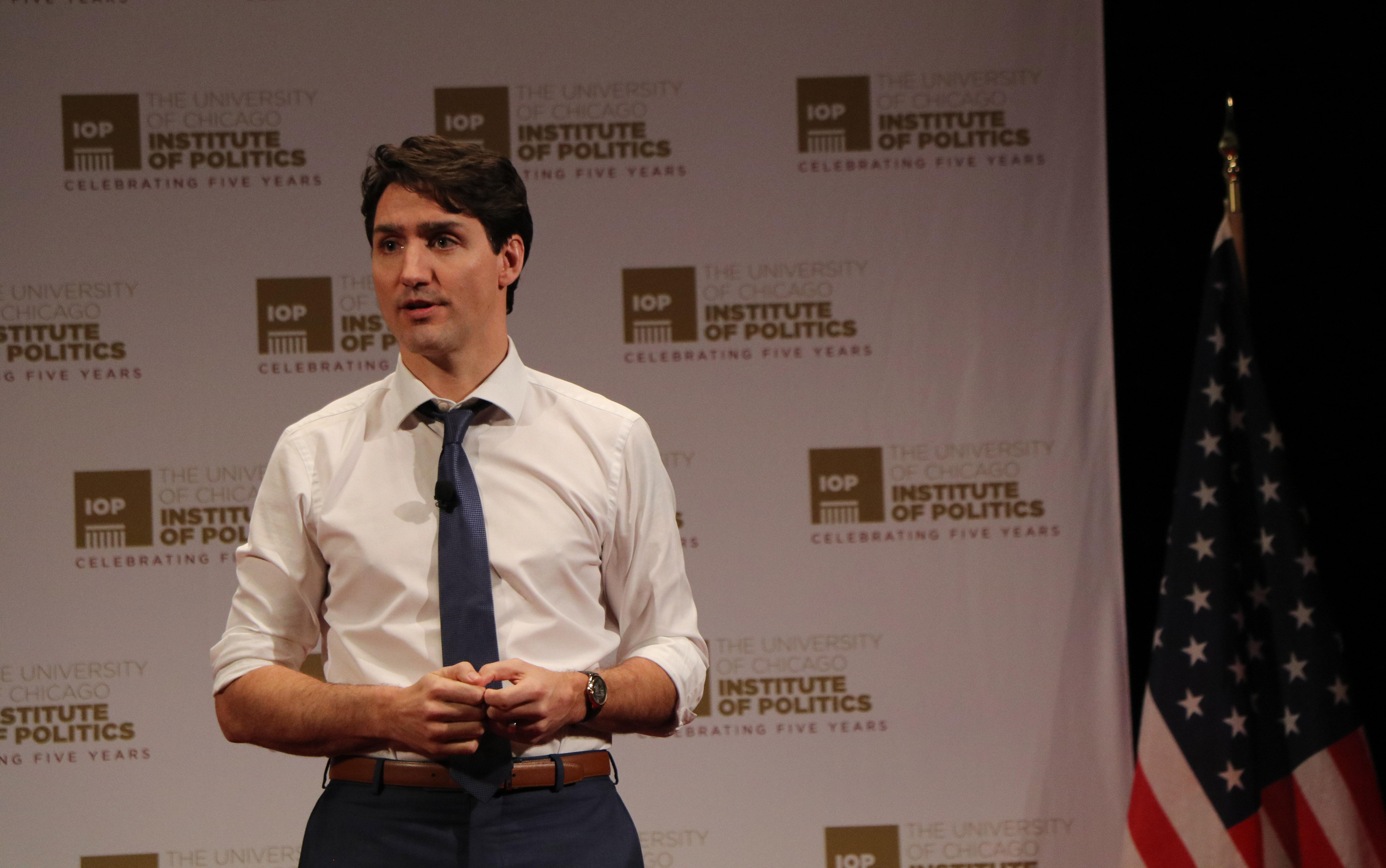 Canadian Prime Minister Justin Trudeau speaks at the University of Chicago's Institute of Politics on Wednesday. (Evan Garcia / Chicago Tonight)