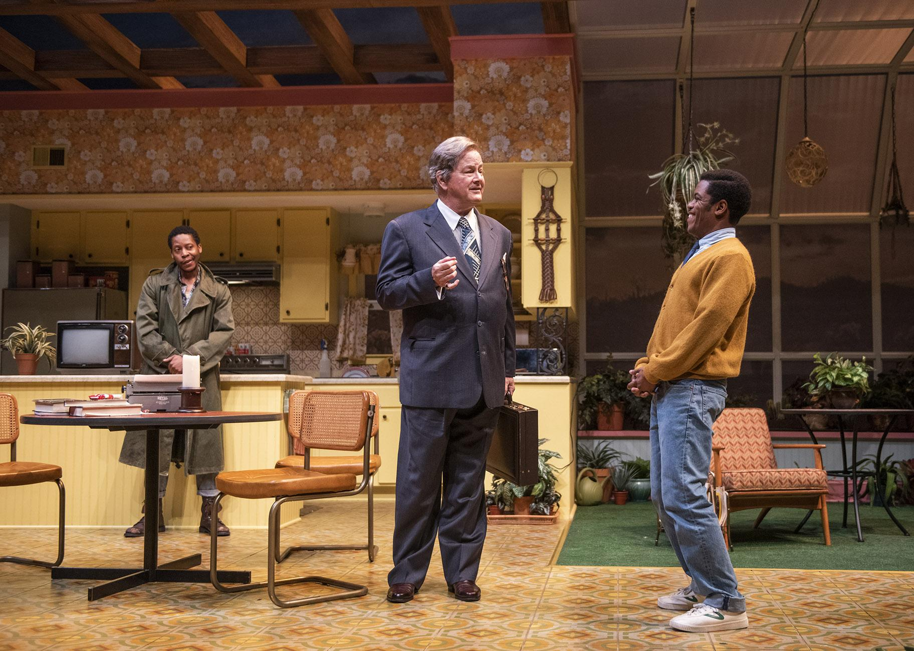 "Namir Smallwood (left), Francis Guinan (center) and Jon Michael Hill in ""True West."" (Photo by Michael Brosilow)"