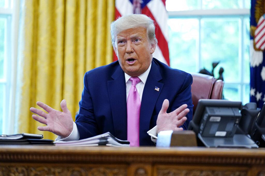 President Donald Trump speaks to the media while meeting with Senate Majority Leader Mitch McConnell and House Minority Leader Kevin McCarthy in the Oval Office at the White House, Monday, July 20, 2020, in Washington. (AP Photo / Evan Vucci)