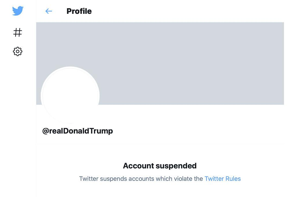 This Friday, Jan. 8, 2021 image shows the suspended Twitter account of President Donald Trump. (AP Photo)