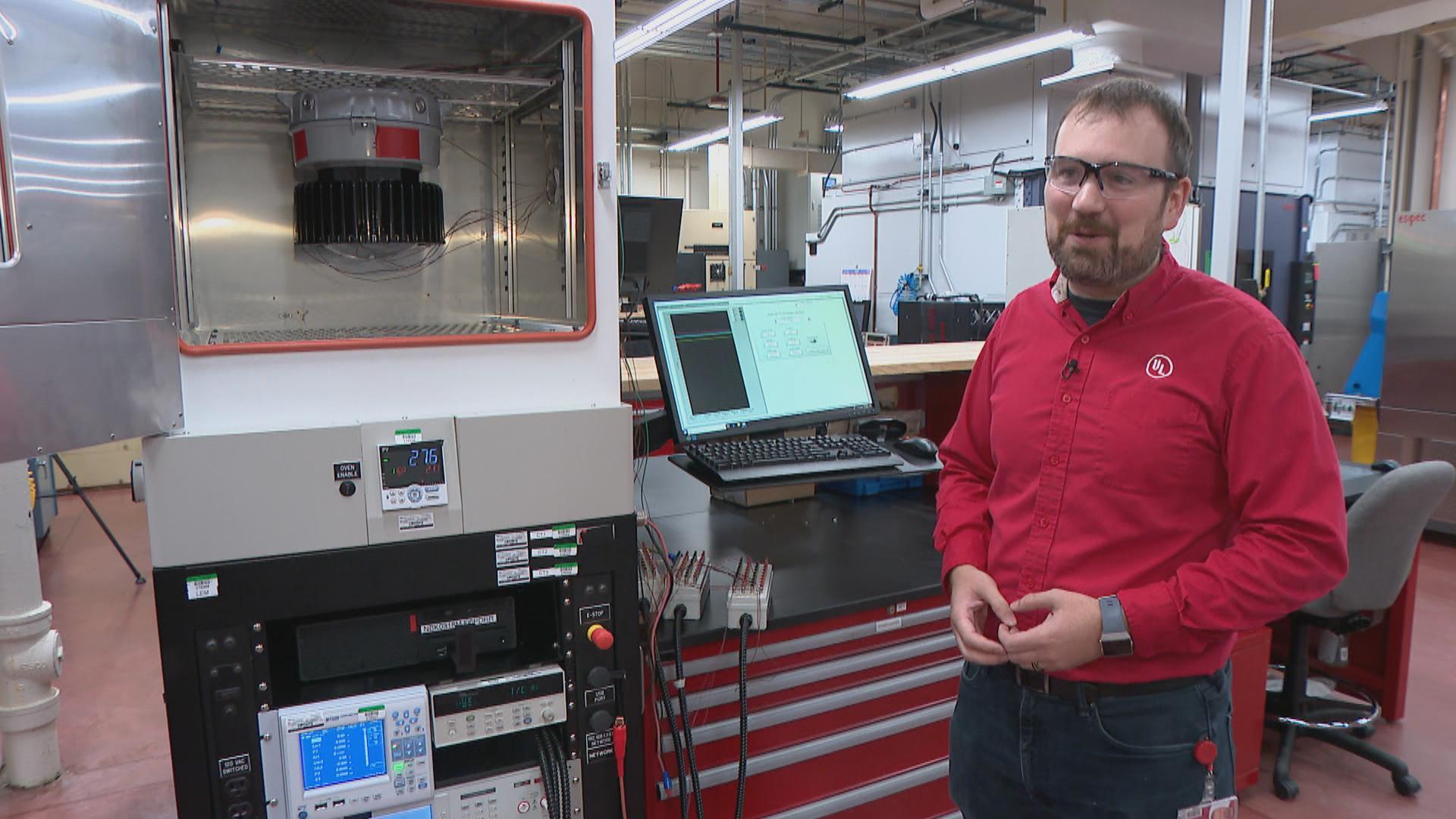 Bill Hoffman, laboratory leader for UL (Underwriters Laboratories) hazardous locations facility in Northbrook. (WTTW News)