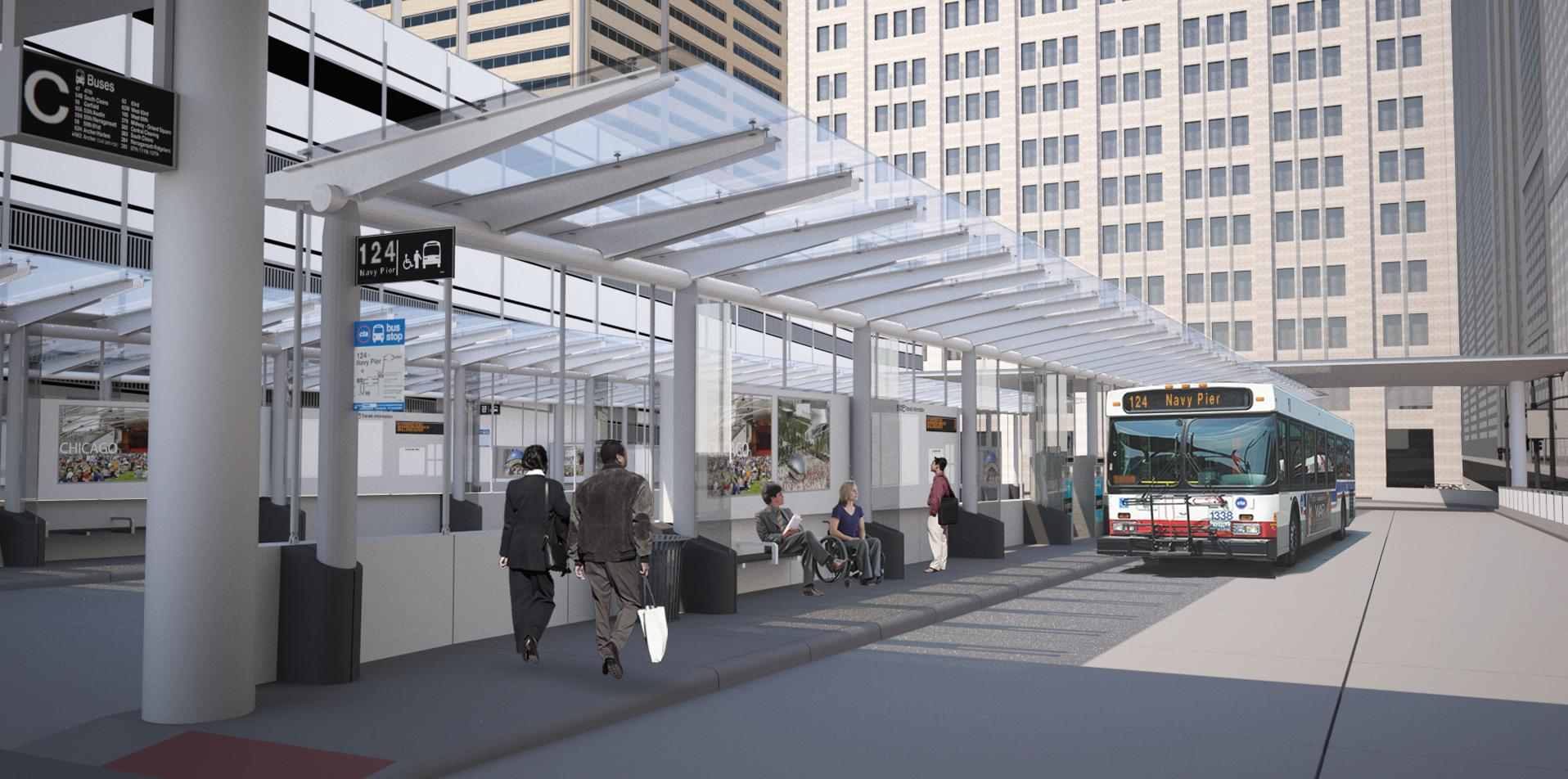 A rendering of the Union Station Transit Center, which will open to the public on Sunday. (Courtesy of the Chicago Department of Transportation)