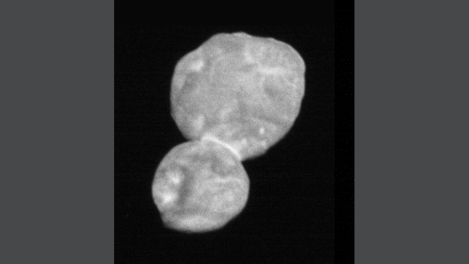 This image taken by the Long-Range Reconnaissance Imager (LORRI) is the most detailed of Ultima Thule returned so far by the New Horizons spacecraft. (Credit: NASA/Johns Hopkins University Applied Physics Laboratory/Southwest Research Institute)