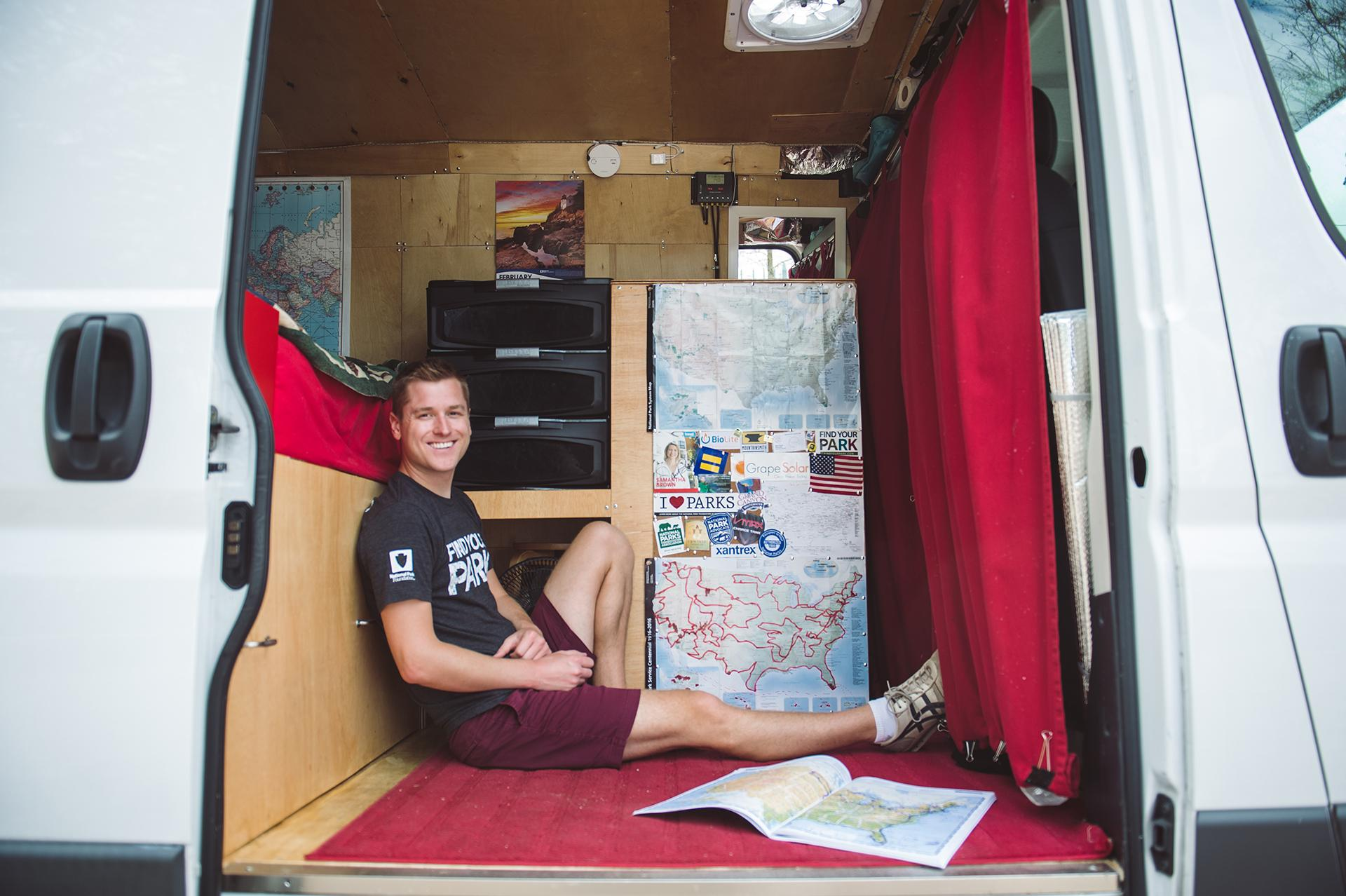 For the past three years, Mikah Meyer lived out of a van as he drove across country visiting all 419 national park sites. (Courtesy of Mikah Meyer)