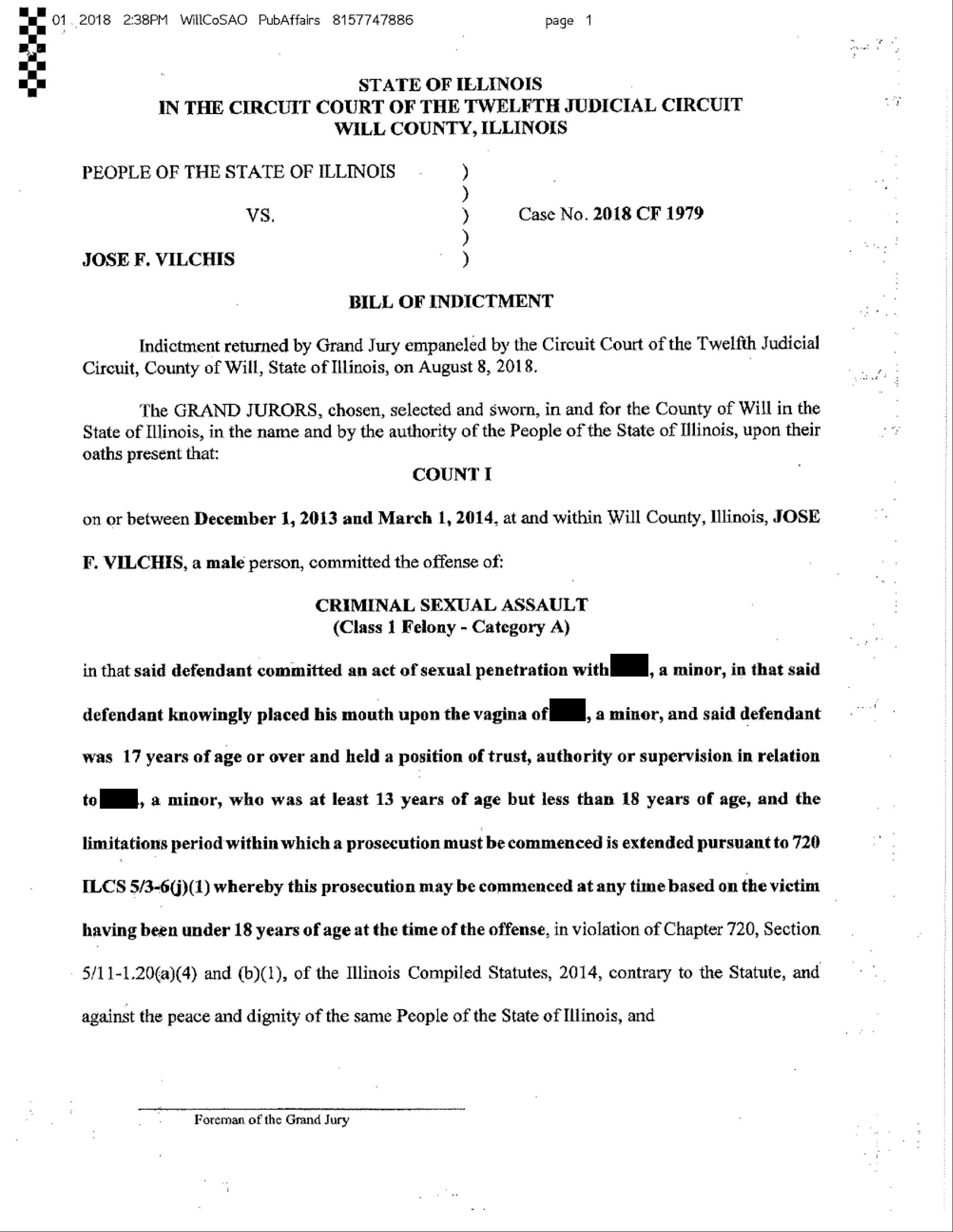 Document: Read the indictment against Jose Vilchis