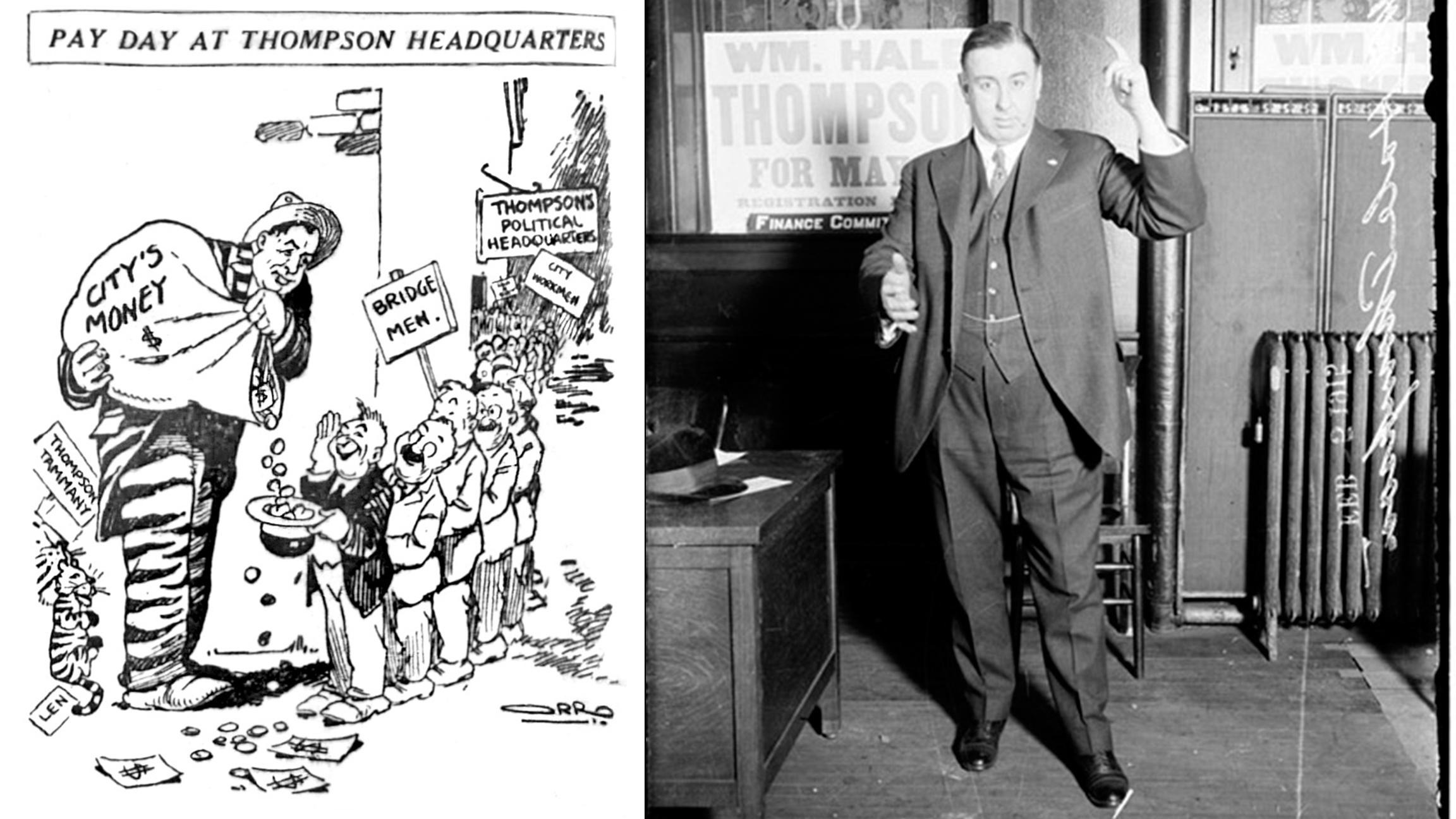 A 1920 political cartoon by David Orro (left) lampoons Chicago Mayor William Hale Thompson (right).