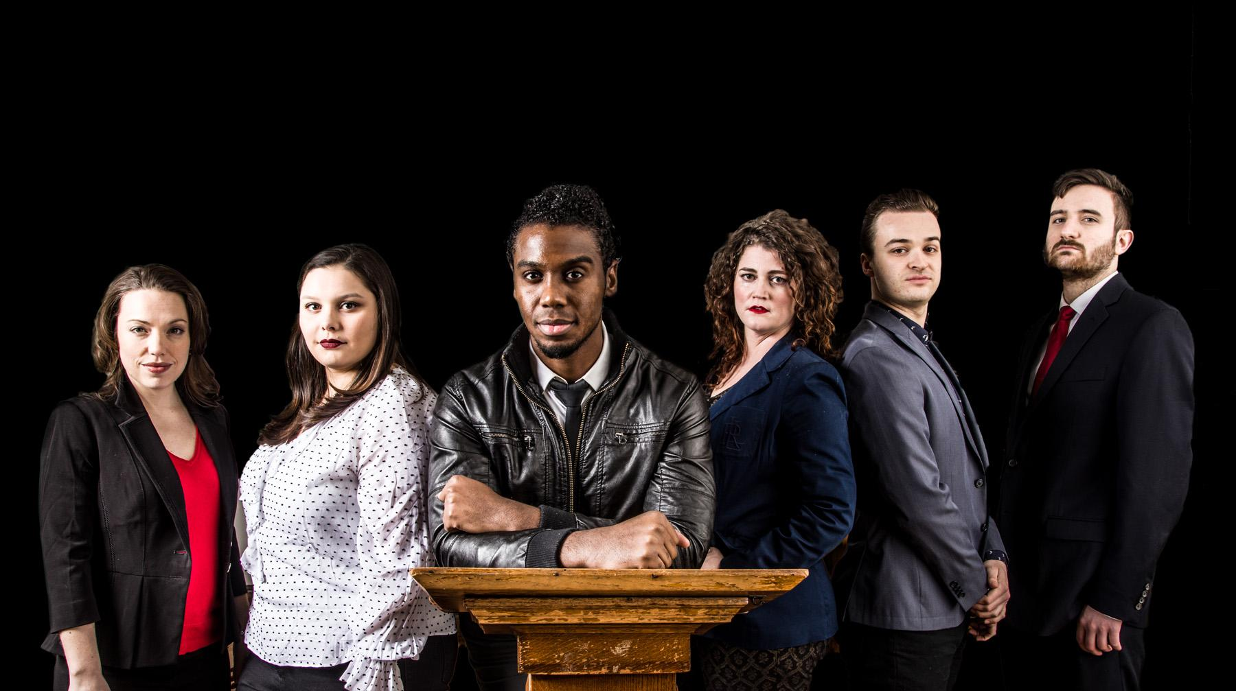 "The cast of ""We the People: The Anti-Trump Musical."" Carmen Fisher Risi, Alyssa Soto, Dwayne Everett, Elizabeth Rentfro, Bradley Halverson and Timothy Swaim.  (Cole Simon)"