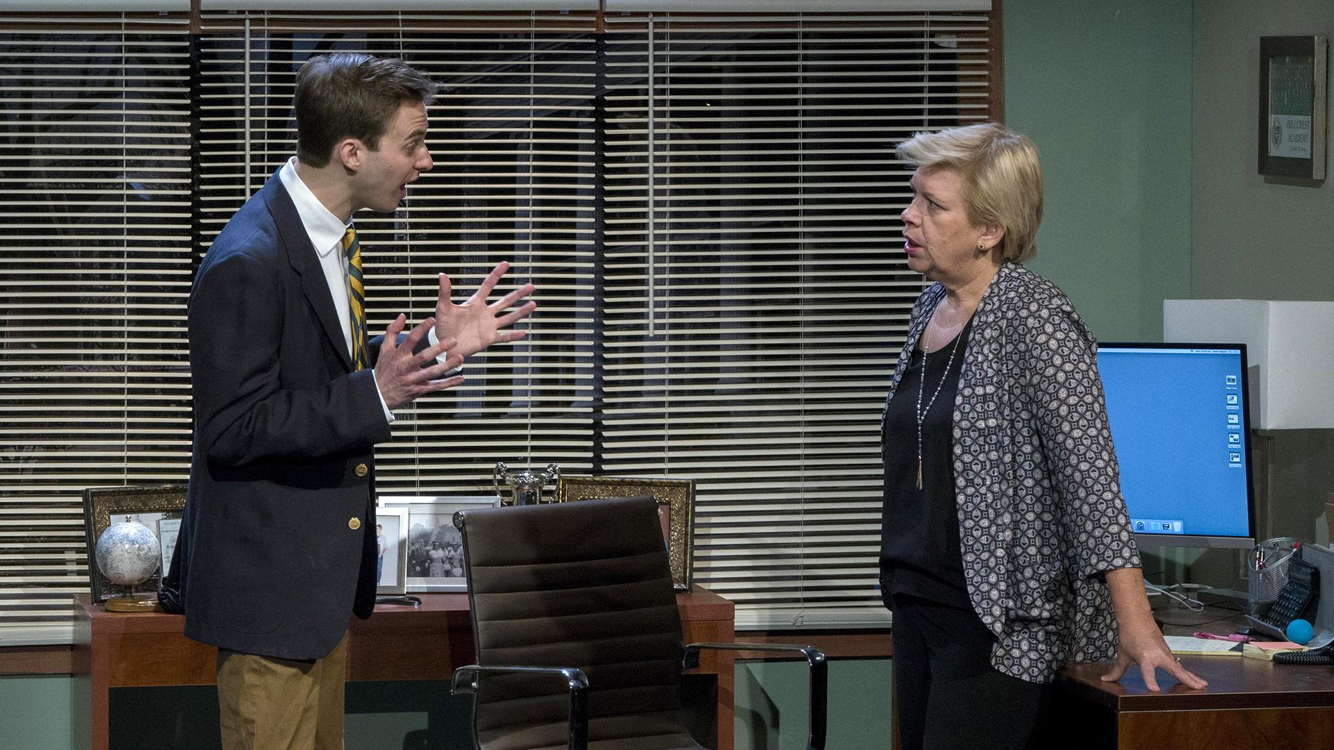 """Admissions"" stars Kyle Curry (left) as Charlie, an outstanding white male student left shattered when his application to Yale is deferred. Meighan Gerachis plays Charlie's mom Sherri, the diversity-focused director of admissions at Charlie's prep school who learns just how far she'll go to help get her son into college. (Photo credit: Charles Osgood)"