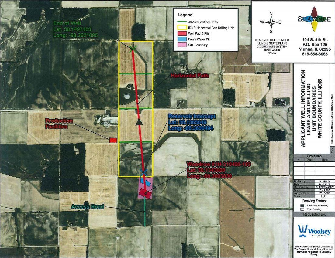A map shows the location of Woolsey's previously planned well in White County. (IDNR)