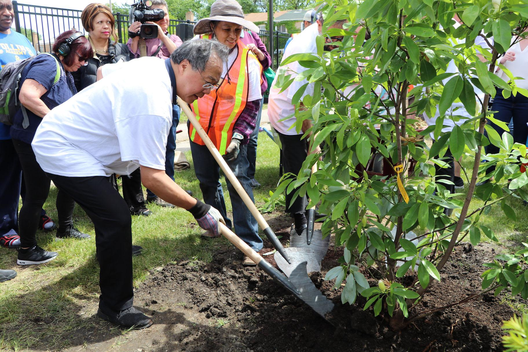 Yo Yo Ma Visits West Side Park To Play Bach Plant Trees Chicago