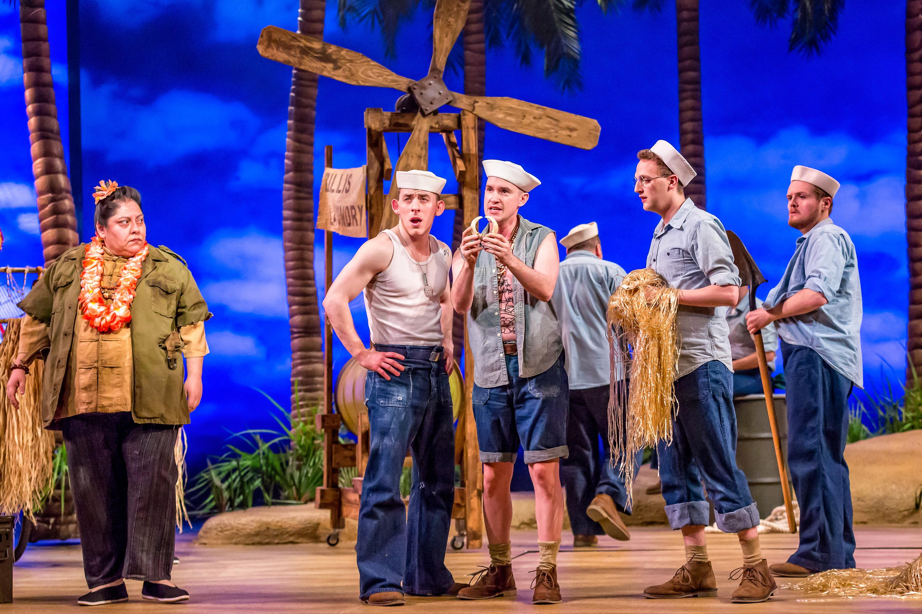 "From left: Yvonne Strumecki, Joe Capstick, Matt Crowle, Sam Shankman and Harter Clingman in ""South Pacific."" (Photo by Brett Beiner)"