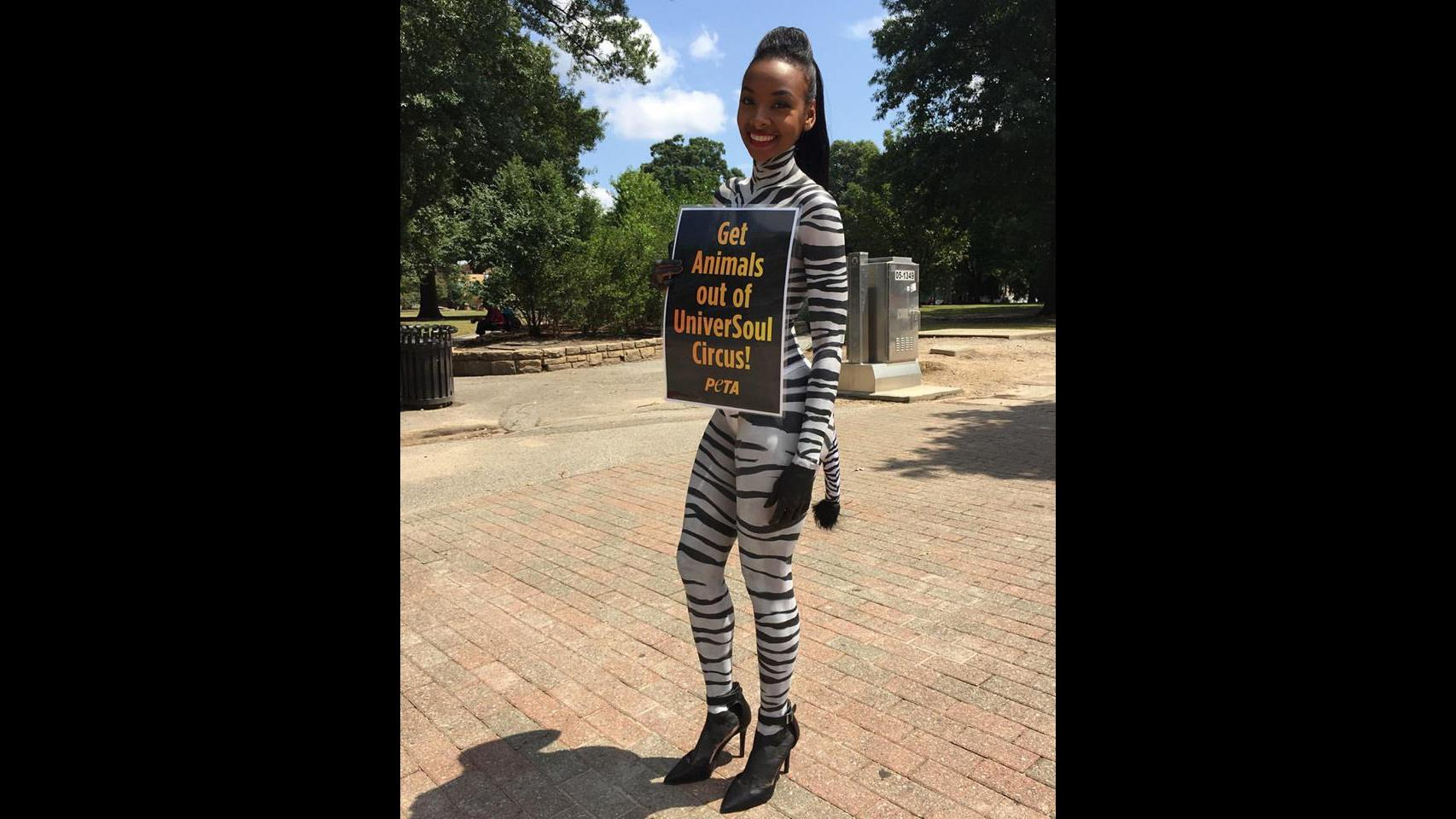 PETA supporter Nikki Ford during a recent protest of UniverSoul Circus in Raleigh, N.C. (Courtesy PETA)