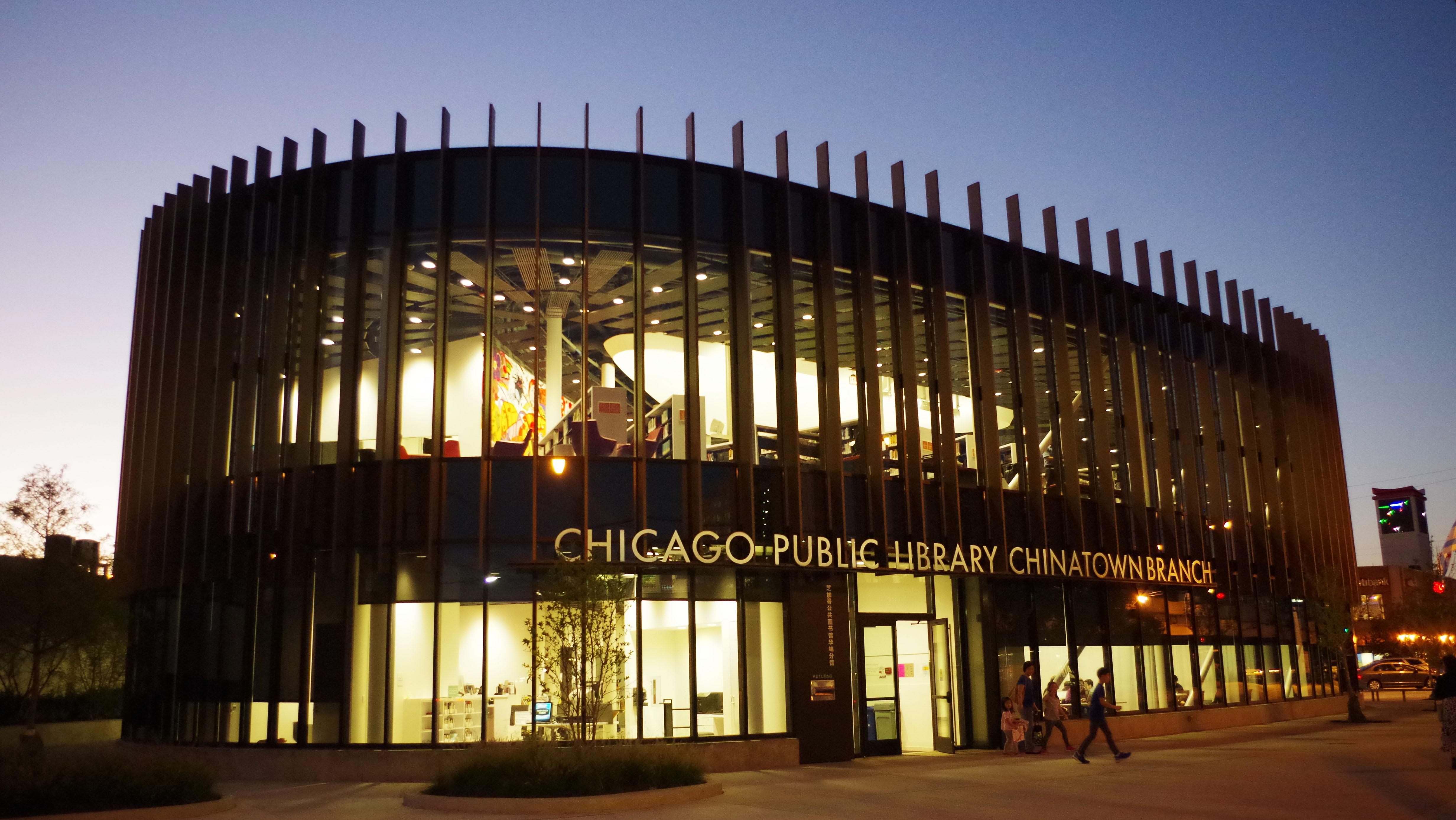 The Chicago Public Library's revamped Chinatown branch opened in 2015 a feng shui-influenced interior design and expansive views of the city. A design competition for three new CPL branches just wrapped up. (Smart Chicago Collaborative's photostream / Flickr)