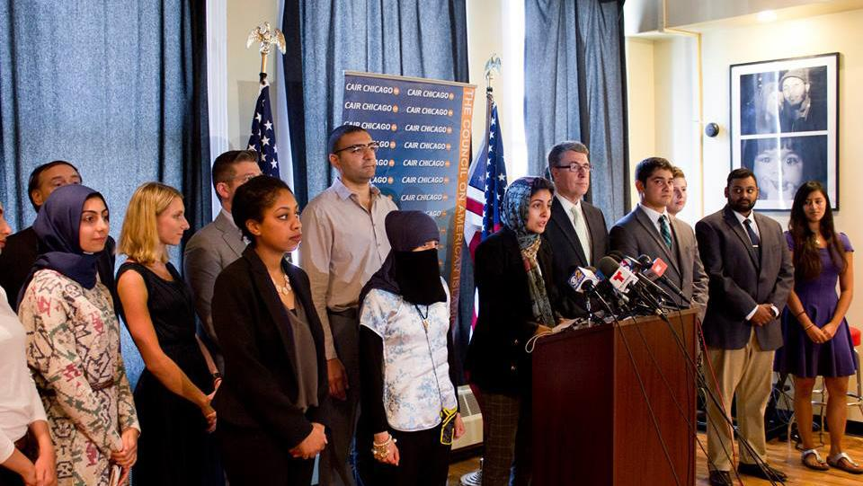 Hoda Katebi of CAIR Chicago speaks during a press conference. (Courtesy of Council on American Islamic Relations)