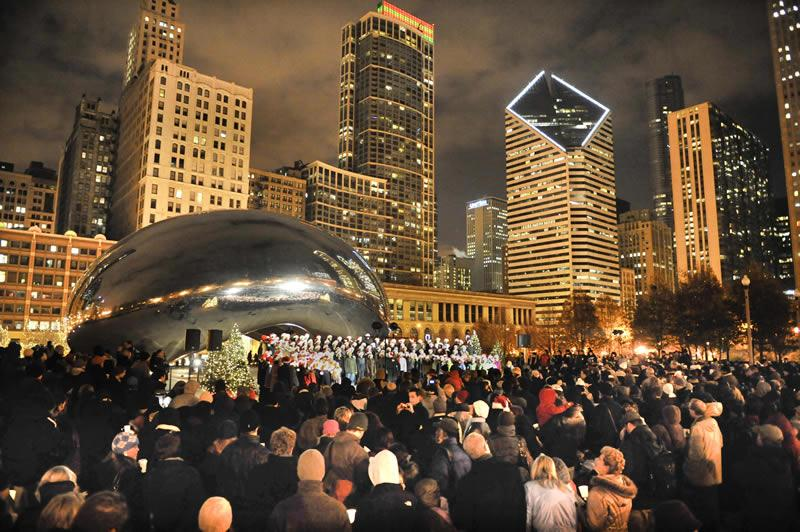 Gather round the bean for an evening of holiday songs when the city's annual series kicks off. (Courtesy of City of Chicago)